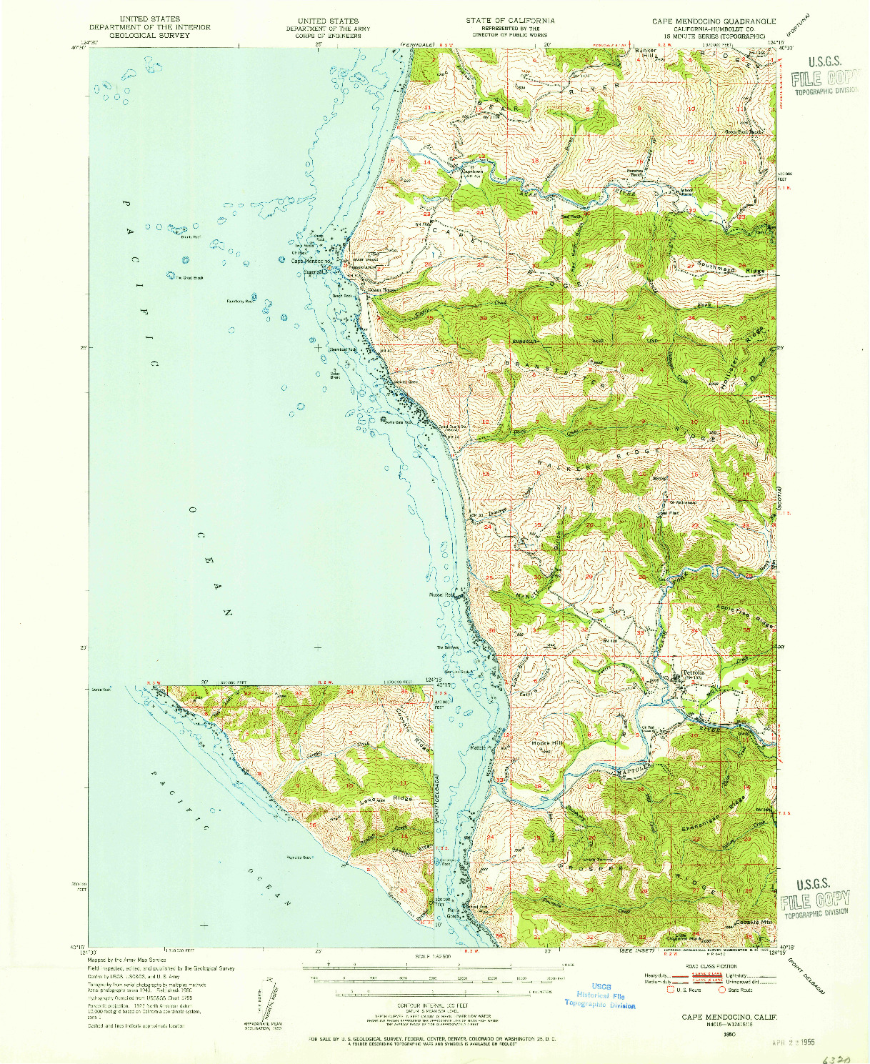 USGS 1:62500-SCALE QUADRANGLE FOR CAPE MENDOCINO, CA 1950