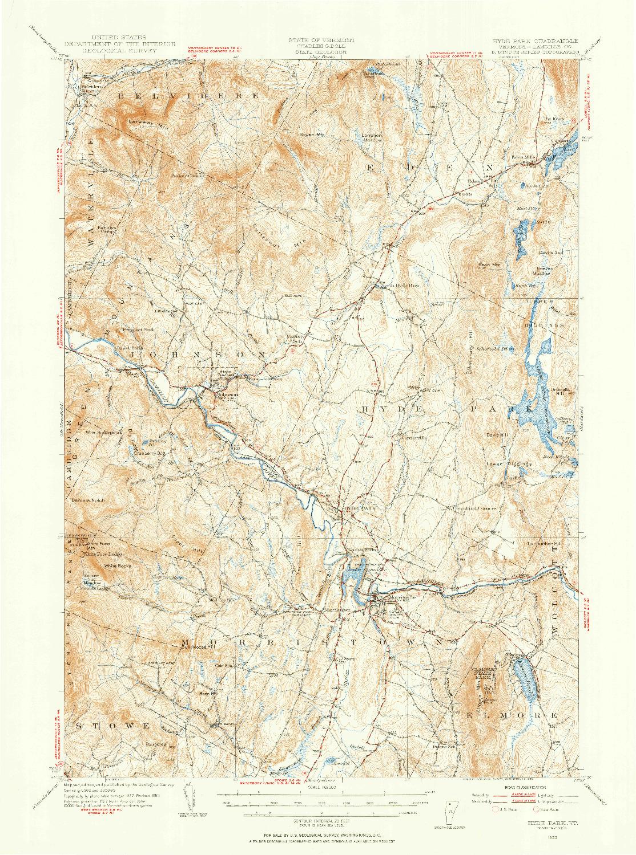 USGS 1:62500-SCALE QUADRANGLE FOR HYDE PARK, VT 1953