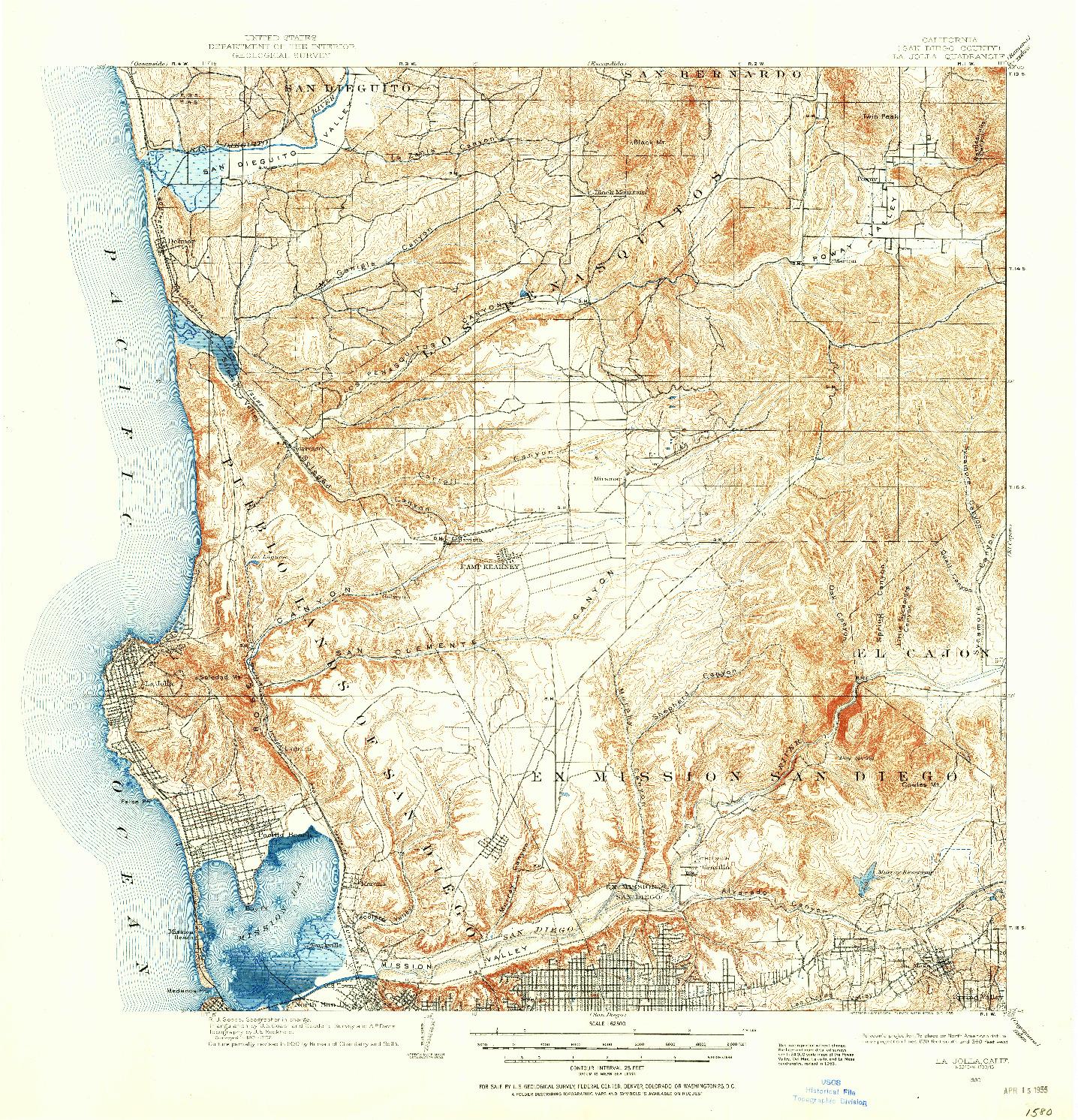 USGS 1:62500-SCALE QUADRANGLE FOR LA JOLLA, CA 1930