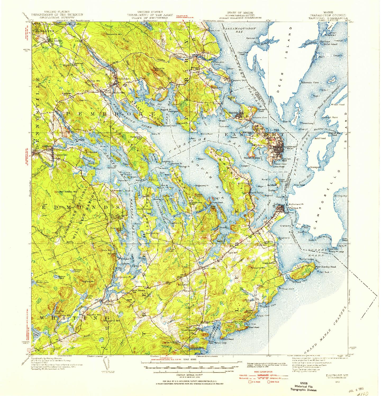 USGS 1:62500-SCALE QUADRANGLE FOR EASTPORT, ME 1943