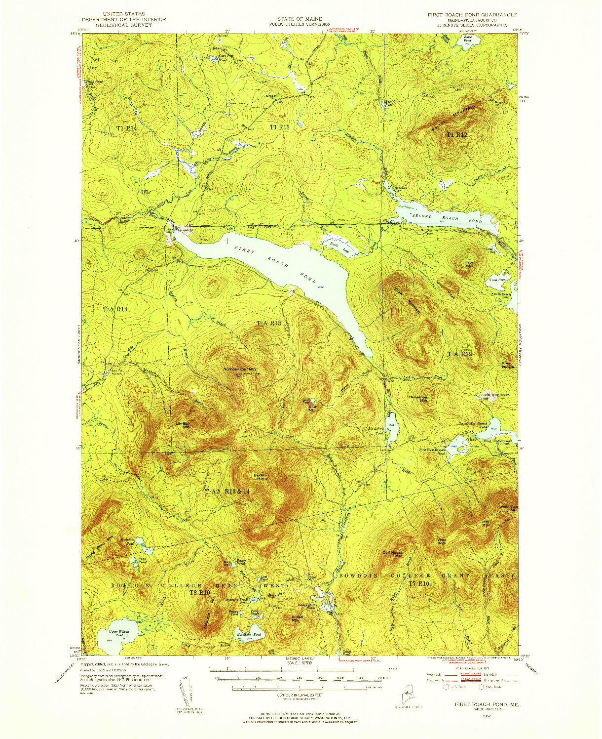 USGS 1:62500-SCALE QUADRANGLE FOR FIRST ROACH POND, ME 1952