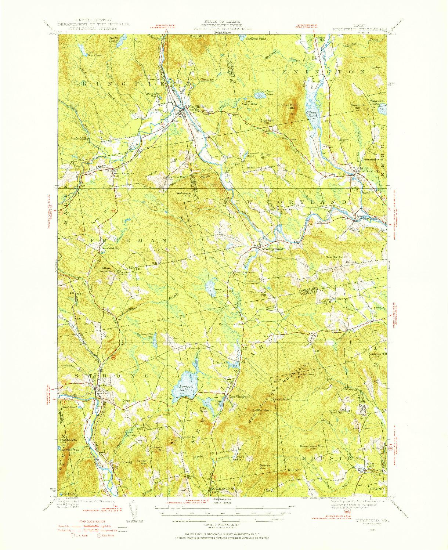 USGS 1:62500-SCALE QUADRANGLE FOR KINGFIELD, ME 1930