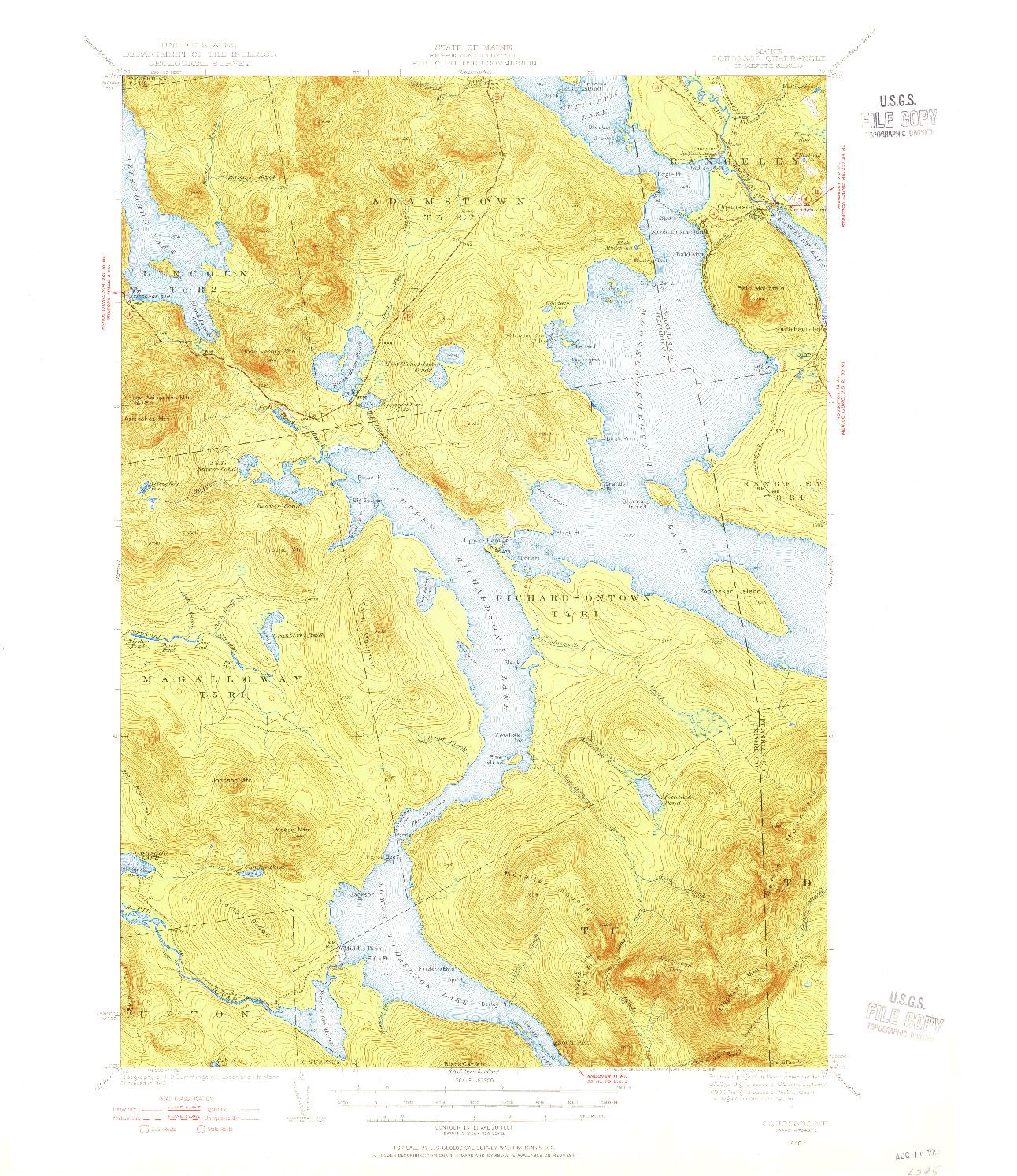 USGS 1:62500-SCALE QUADRANGLE FOR OQUOSSOC, ME 1940