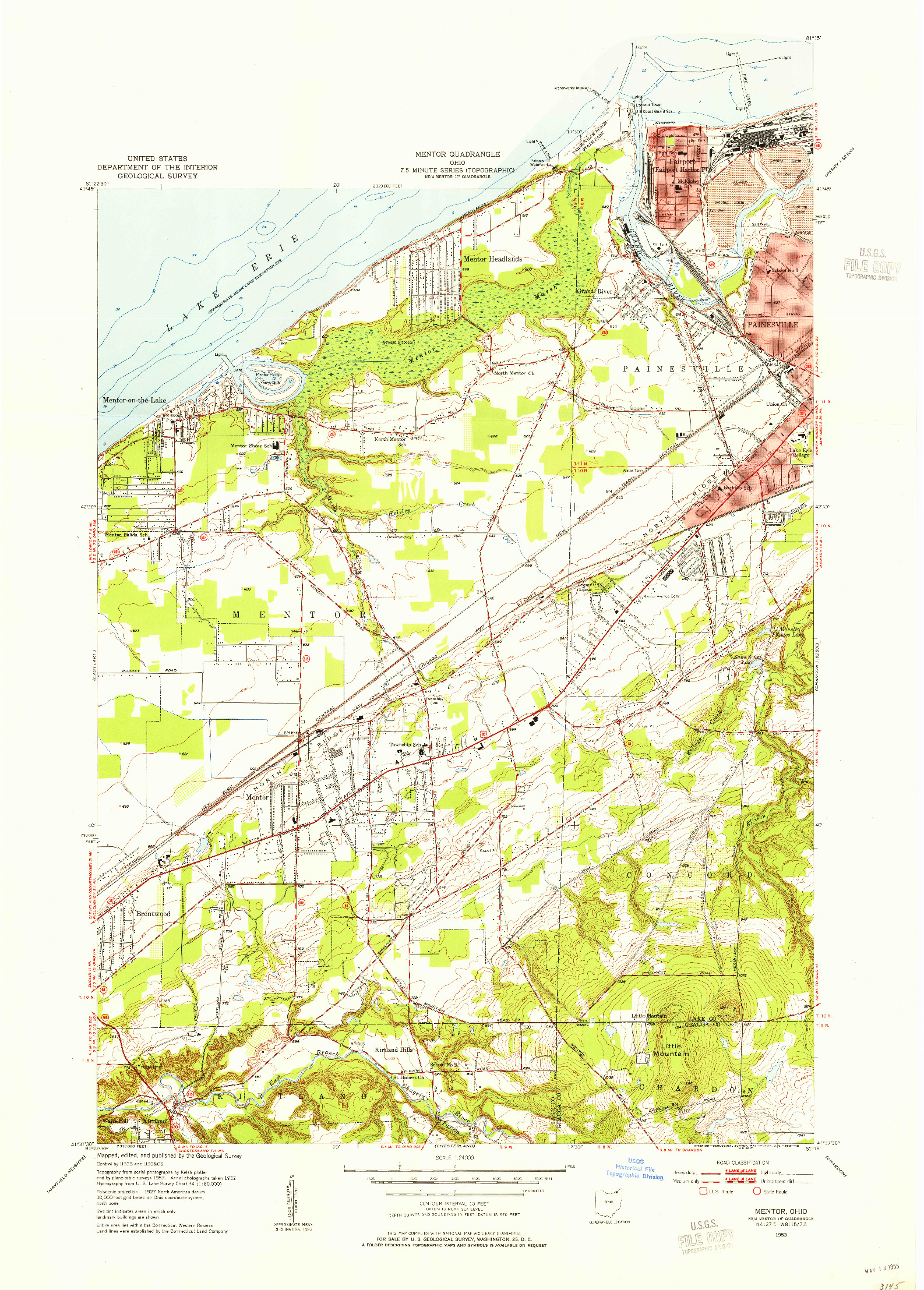 USGS 1:24000-SCALE QUADRANGLE FOR MENTOR, OH 1953