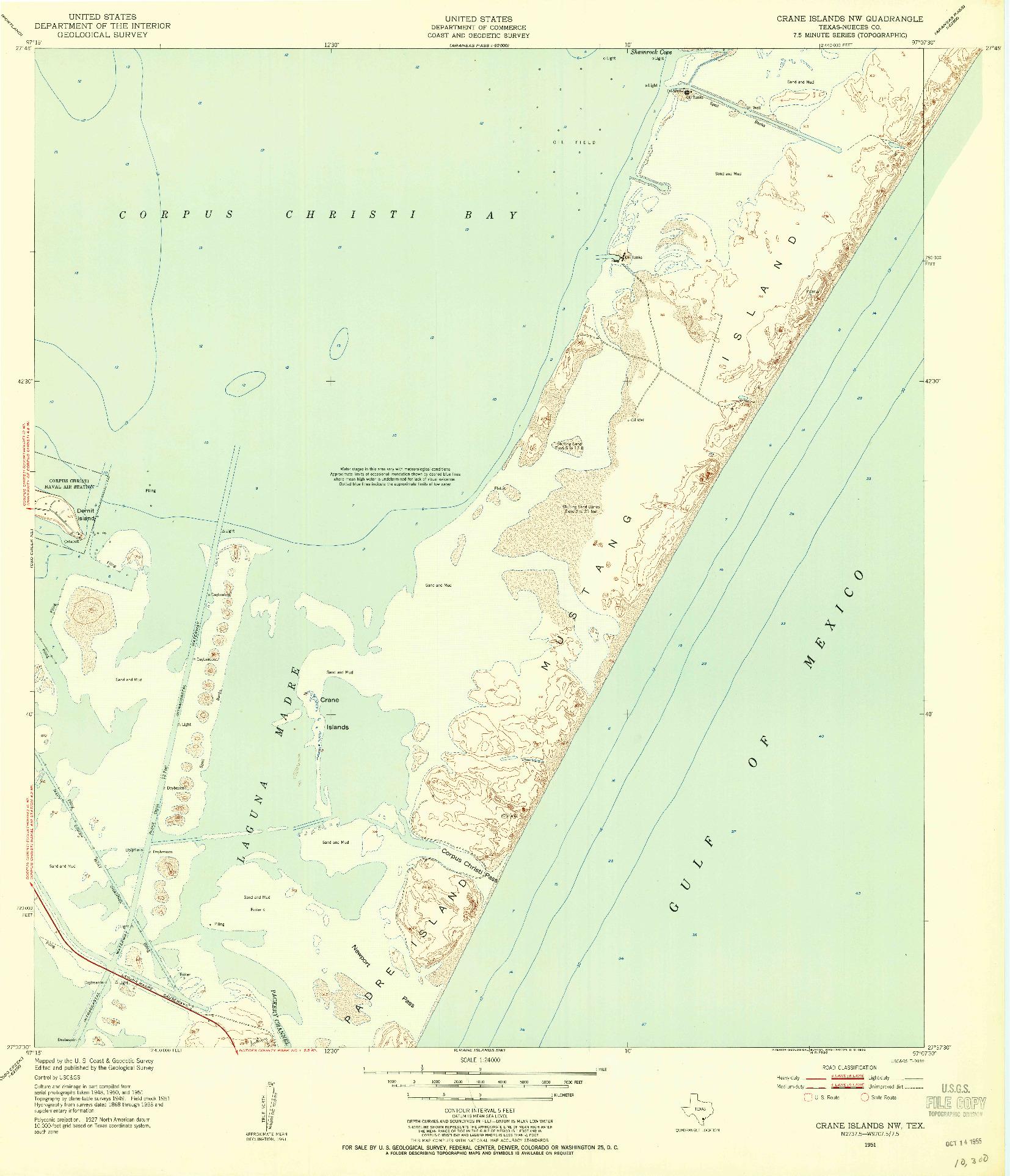 USGS 1:24000-SCALE QUADRANGLE FOR CRANE ISLANDS NW, TX 1951