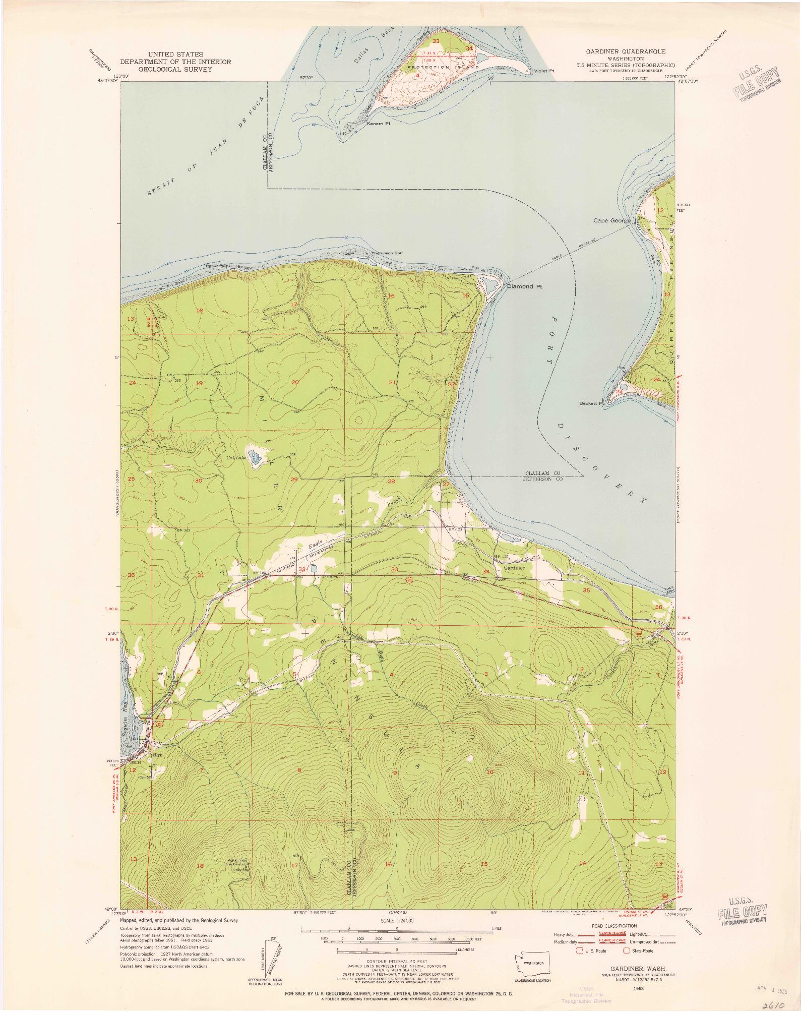USGS 1:24000-SCALE QUADRANGLE FOR GARDINER, WA 1953