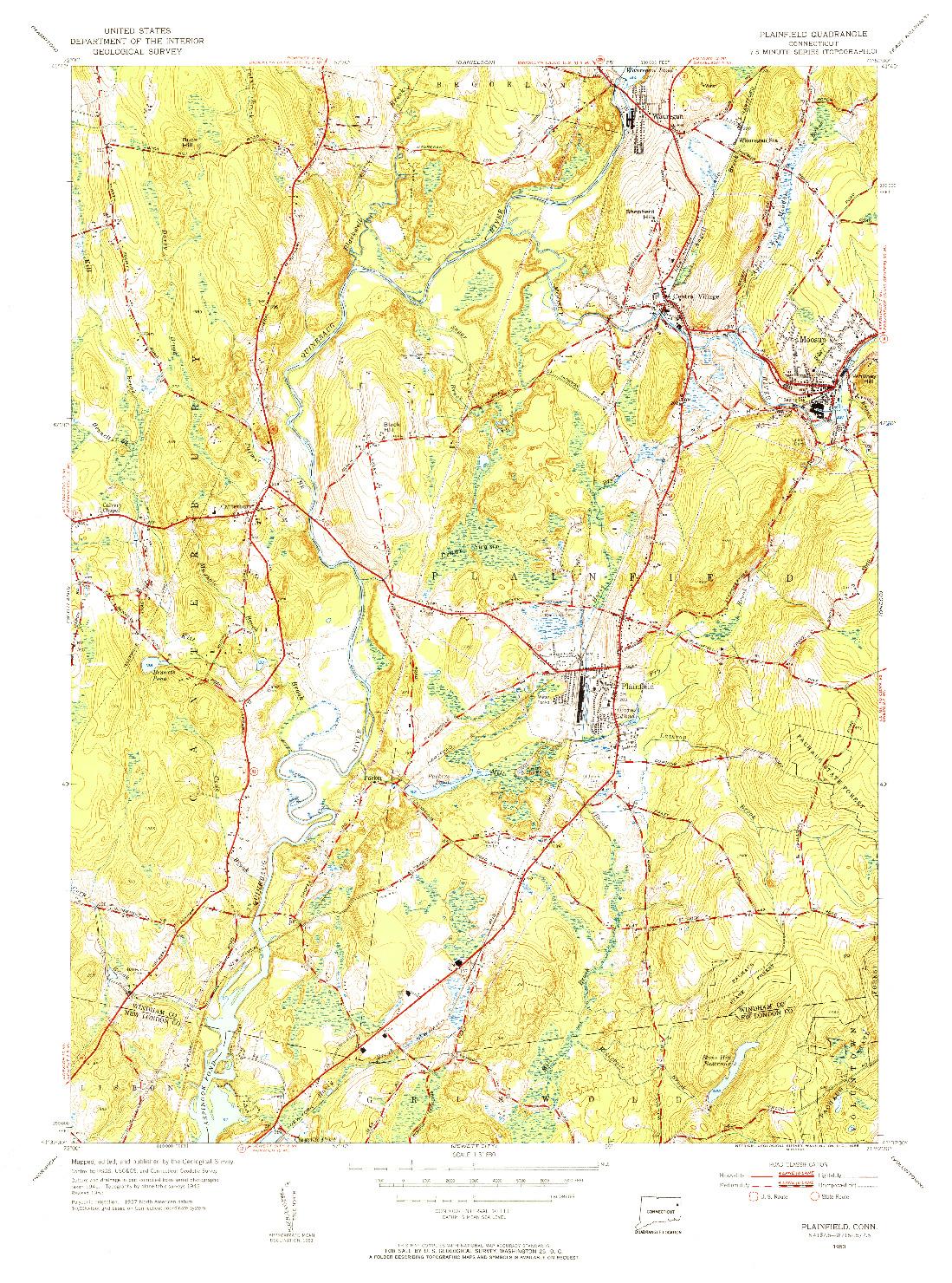 USGS 1:31680-SCALE QUADRANGLE FOR PLAINFIELD, CT 1953