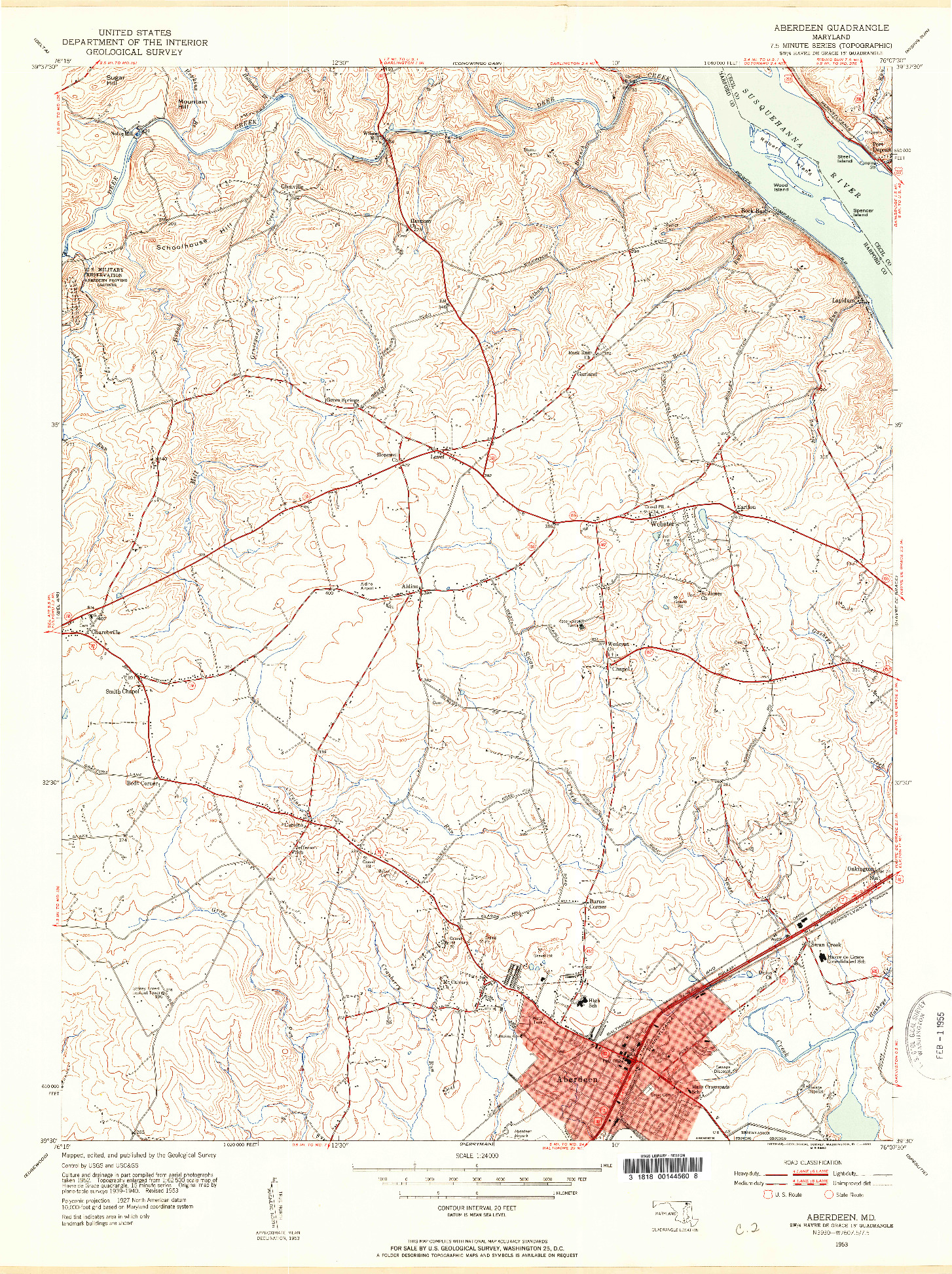 USGS 1:24000-SCALE QUADRANGLE FOR ABERDEEN, MD 1953