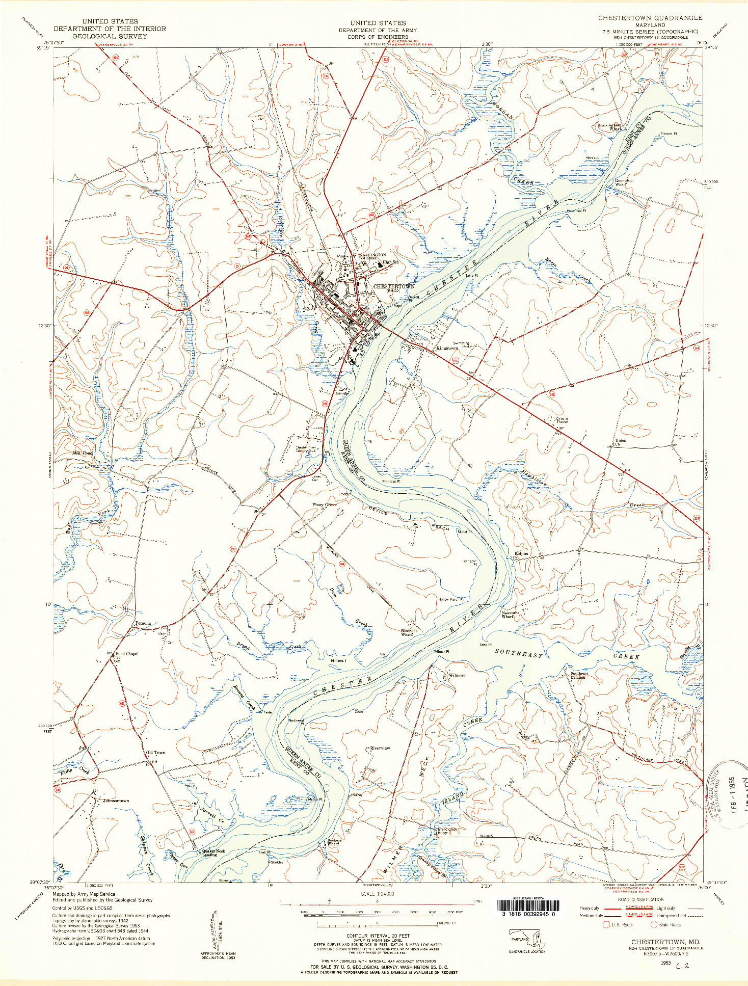 USGS 1:24000-SCALE QUADRANGLE FOR CHESTERTOWN, MD 1953