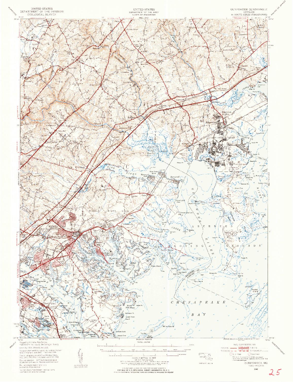 USGS 1:62500-SCALE QUADRANGLE FOR GUNPOWDER, MD 1949