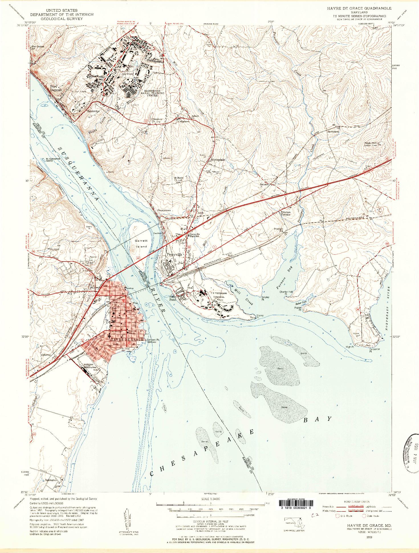 USGS 1:24000-SCALE QUADRANGLE FOR HAVRE DE GRACE, MD 1953