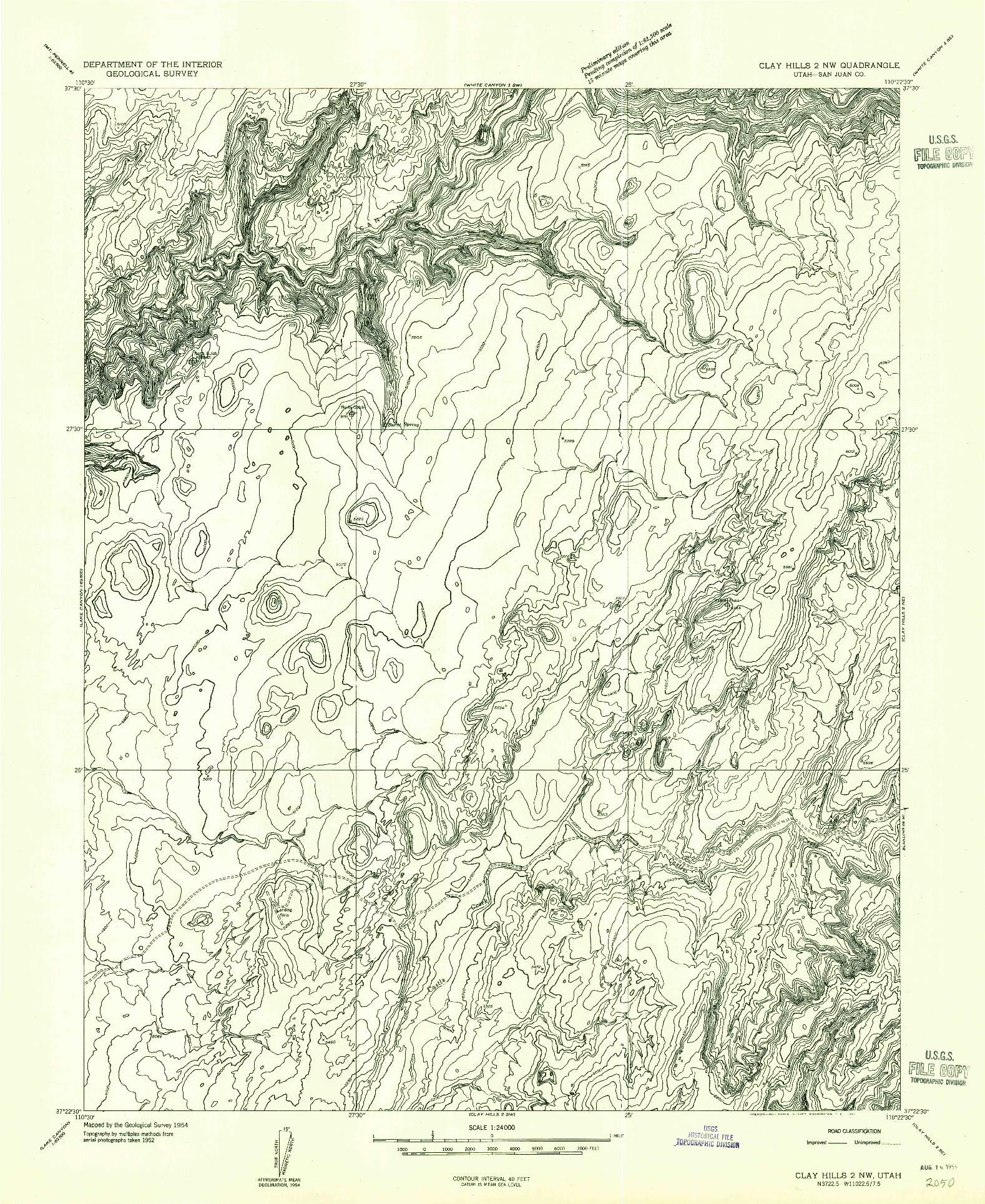 USGS 1:24000-SCALE QUADRANGLE FOR CLAY HILLS 2 NW, UT 1954