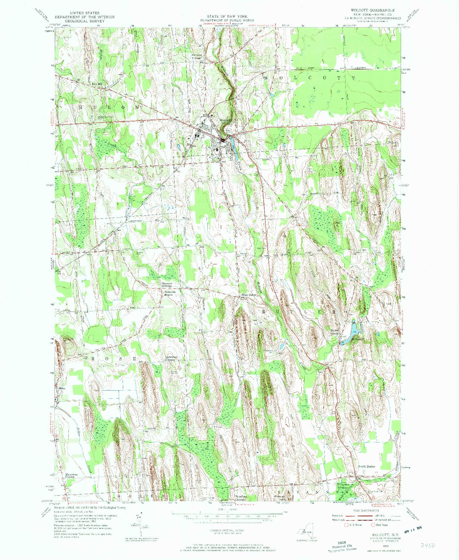 USGS 1:24000-SCALE QUADRANGLE FOR WOLCOTT, NY 1953