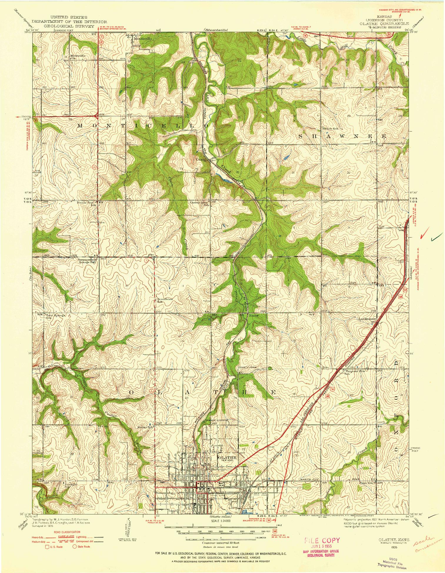 USGS 1:24000-SCALE QUADRANGLE FOR OLATHE, KS 1935