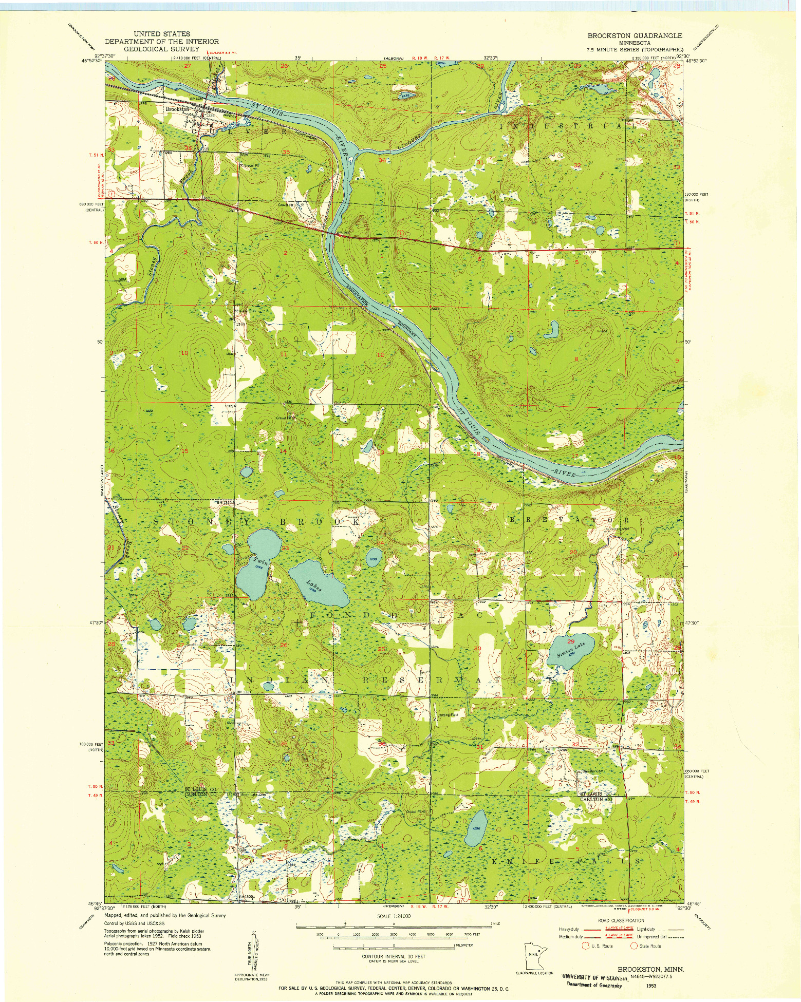 USGS 1:24000-SCALE QUADRANGLE FOR BROOKSTON, MN 1953