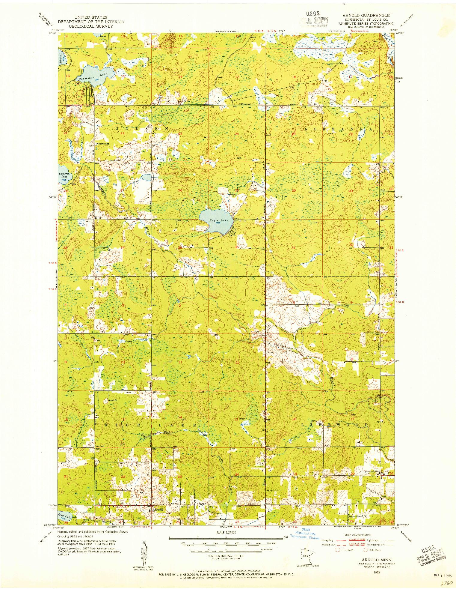USGS 1:24000-SCALE QUADRANGLE FOR ARNOLD, MN 1953