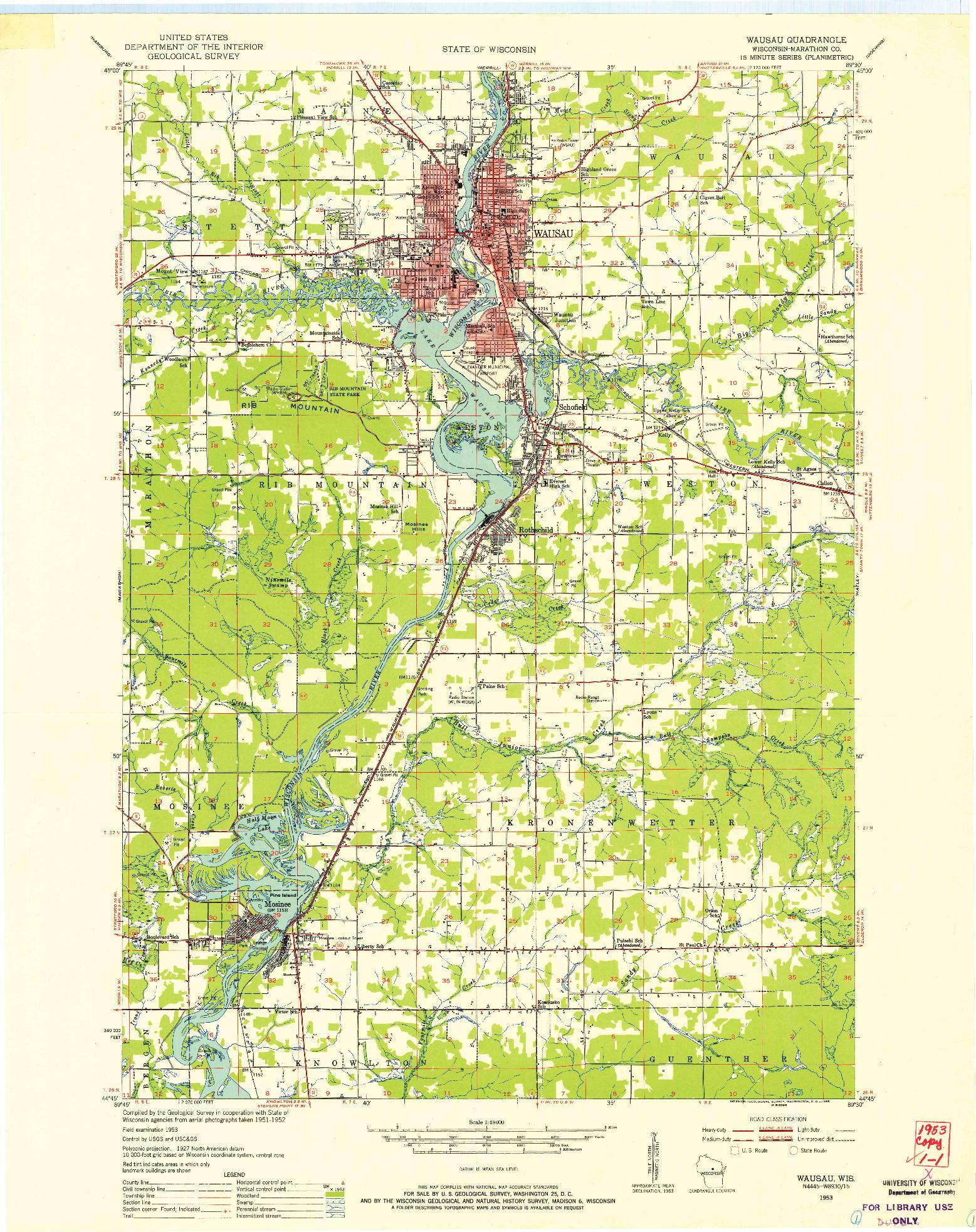USGS 1:48000-SCALE QUADRANGLE FOR WAUSAU, WI 1953