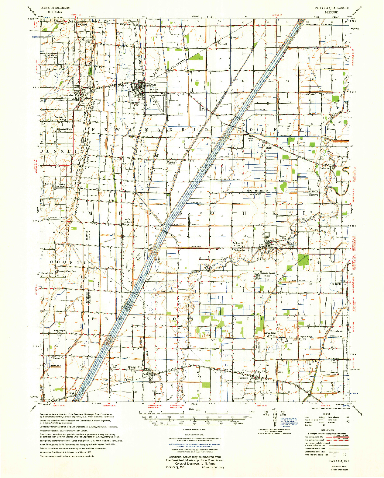 USGS 1:62500-SCALE QUADRANGLE FOR PASCOLA, MO 1955