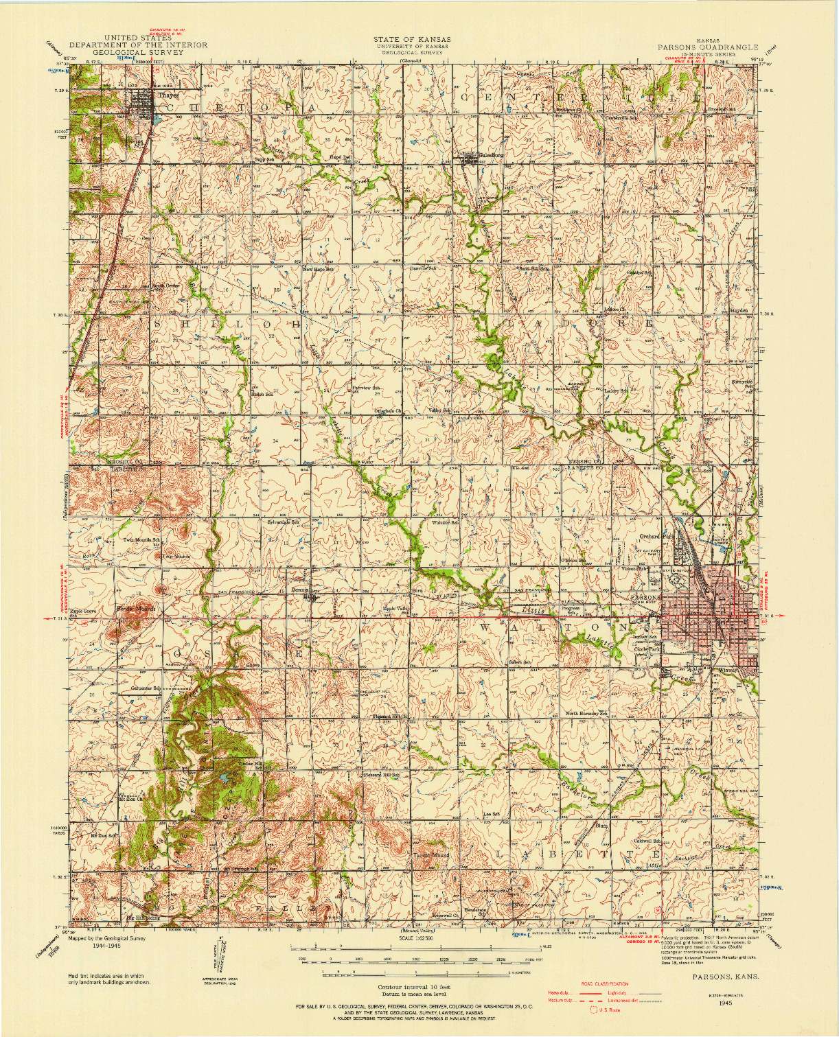 USGS 1:62500-SCALE QUADRANGLE FOR PARSONS, KS 1945