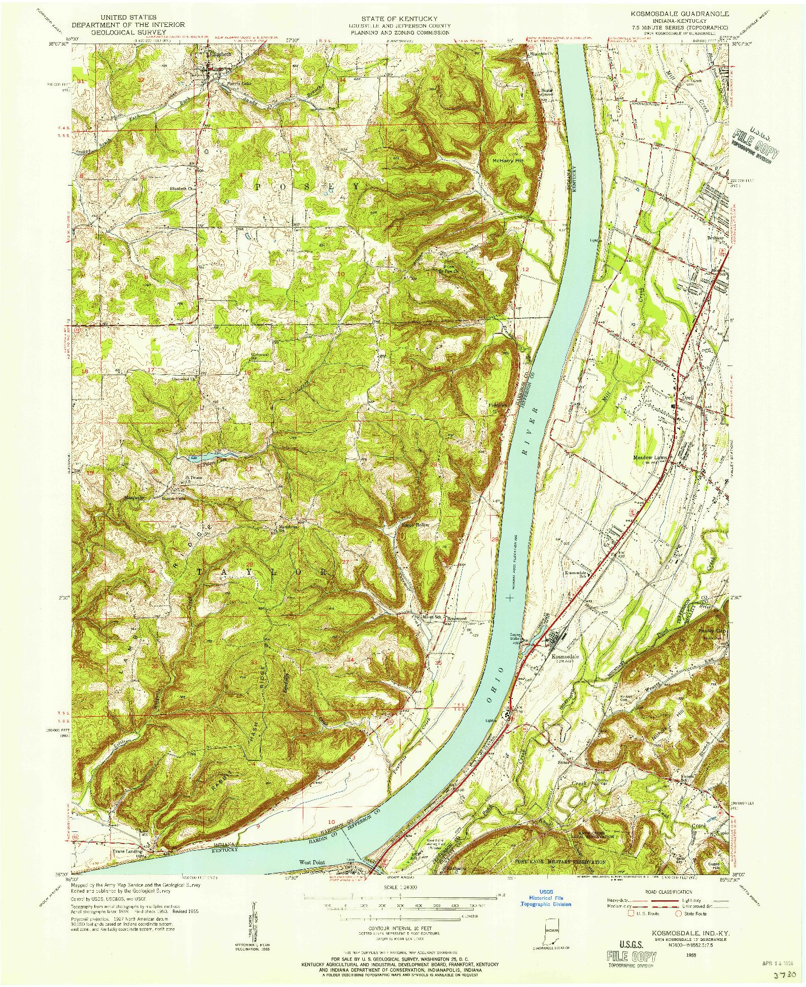 USGS 1:24000-SCALE QUADRANGLE FOR KOSMOSDALE, IN 1955