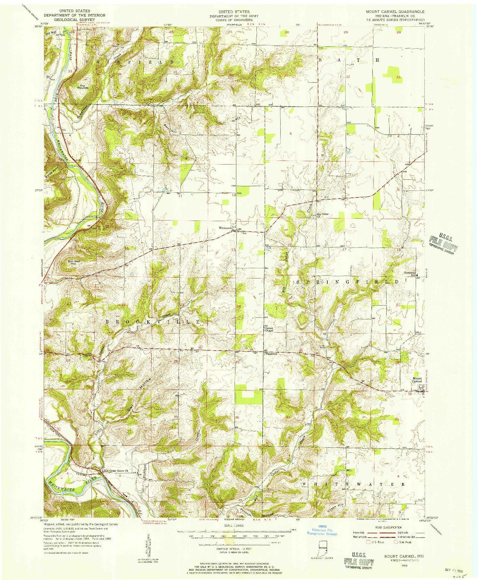 USGS 1:24000-SCALE QUADRANGLE FOR MOUNT CARMEL, IN 1955