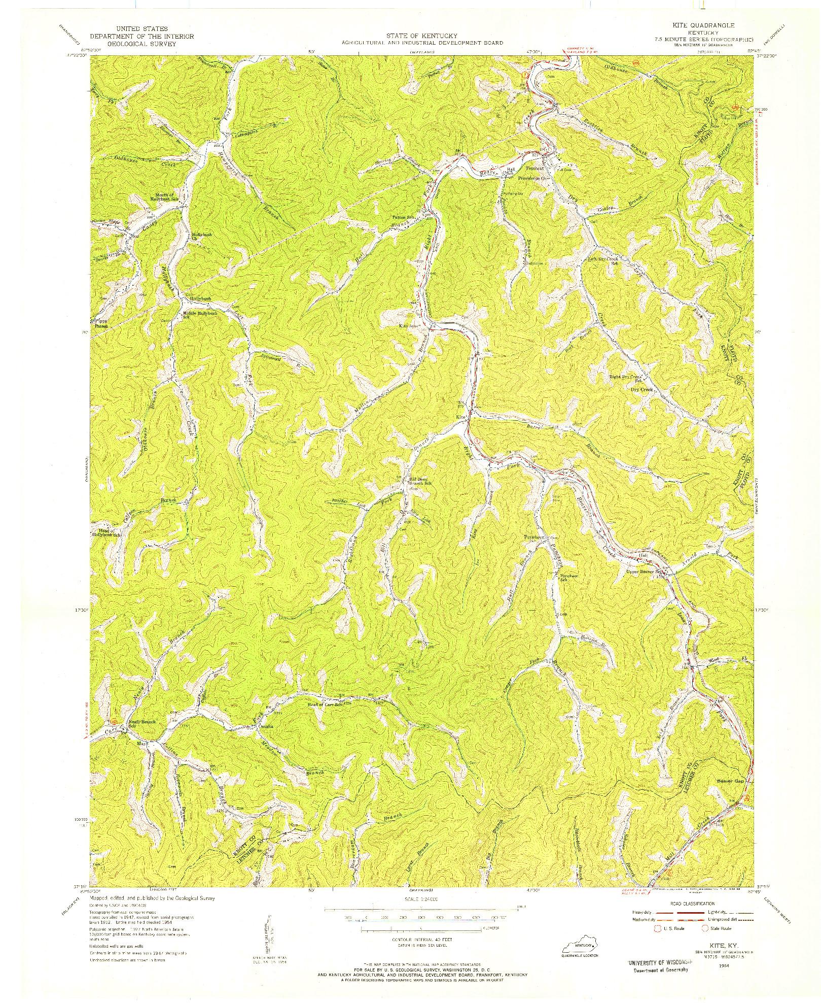 USGS 1:24000-SCALE QUADRANGLE FOR KITE, KY 1954