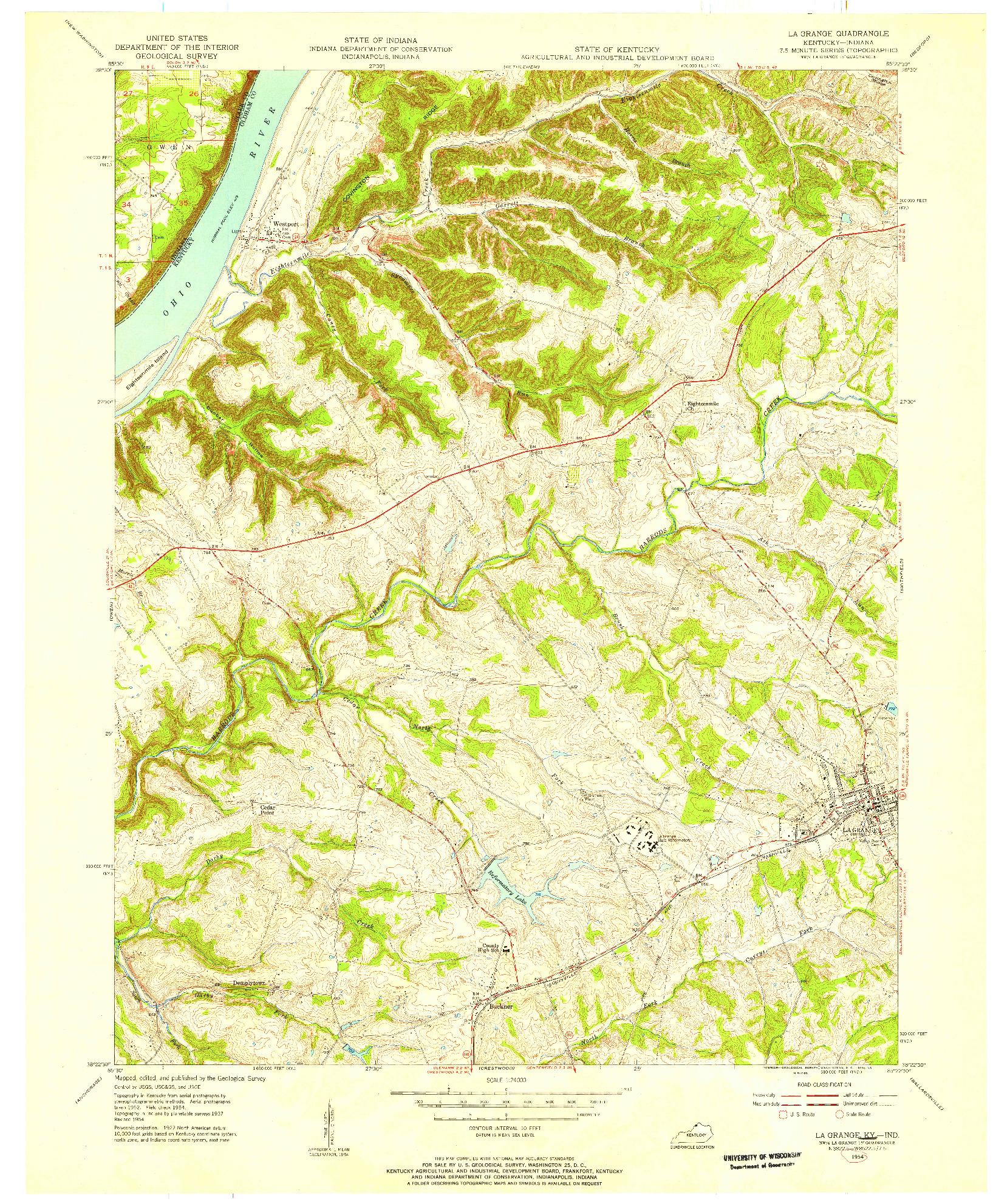 USGS 1:24000-SCALE QUADRANGLE FOR LA GRANGE, KY 1954