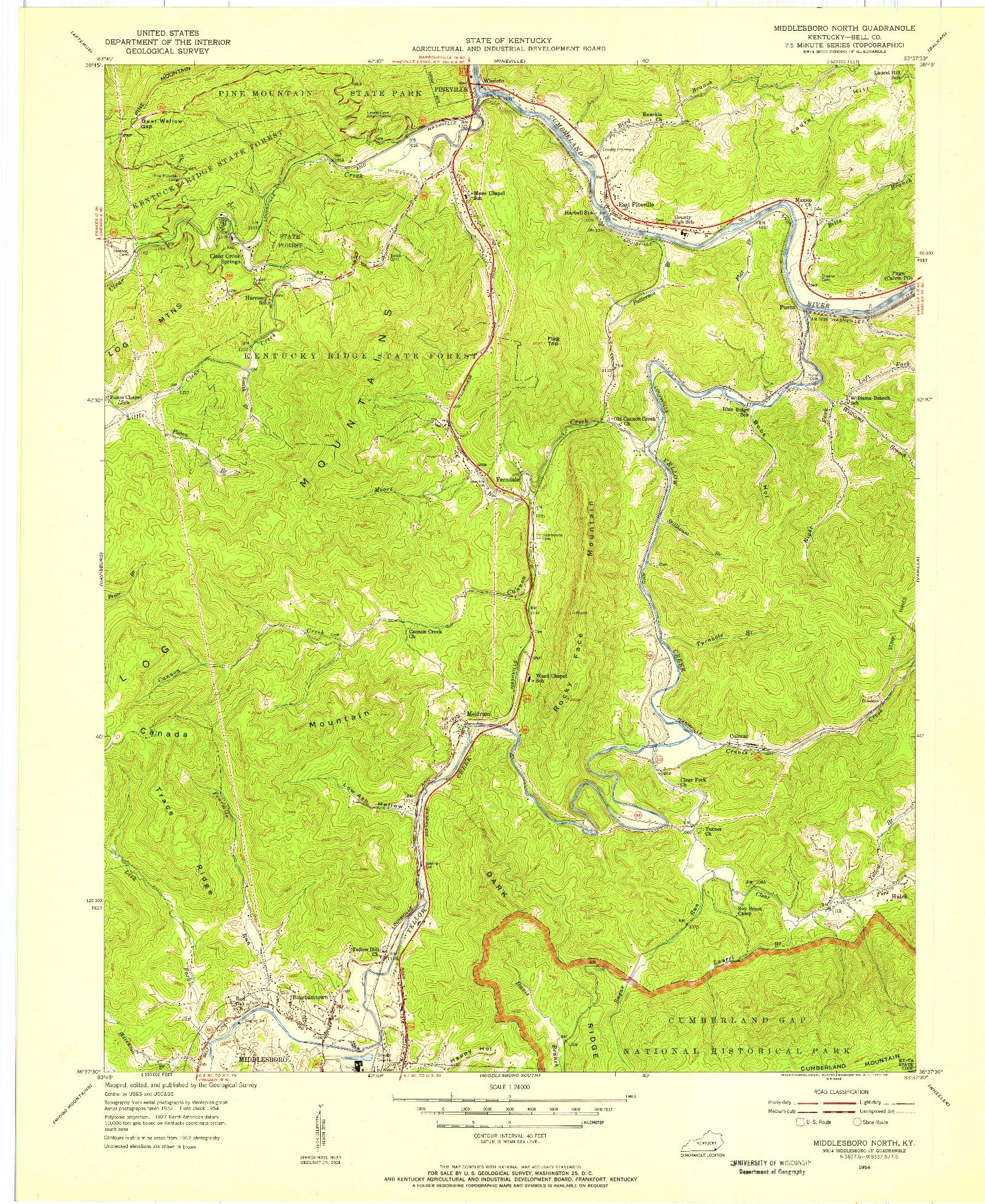 USGS 1:24000-SCALE QUADRANGLE FOR MIDDLESBORO NORTH, KY 1954