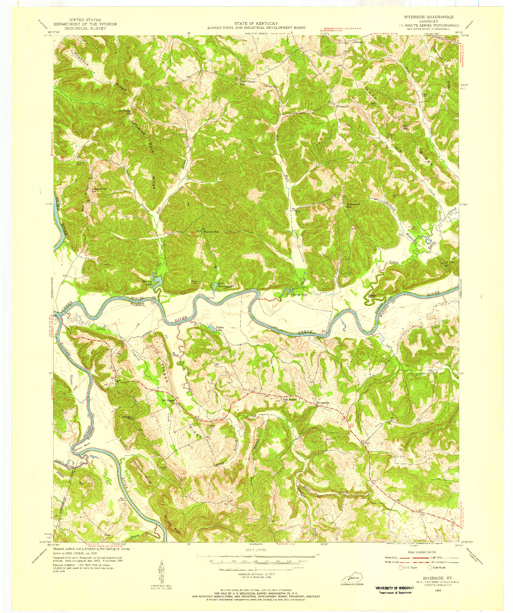 USGS 1:24000-SCALE QUADRANGLE FOR RIVERSIDE, KY 1954