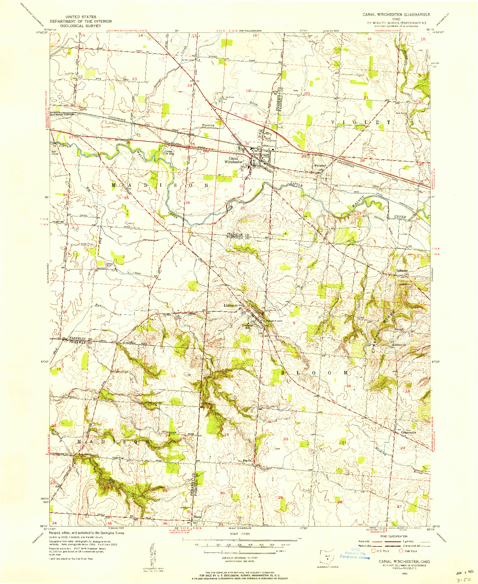 USGS 1:24000-SCALE QUADRANGLE FOR CANAL WINCHESTER, OH 1955