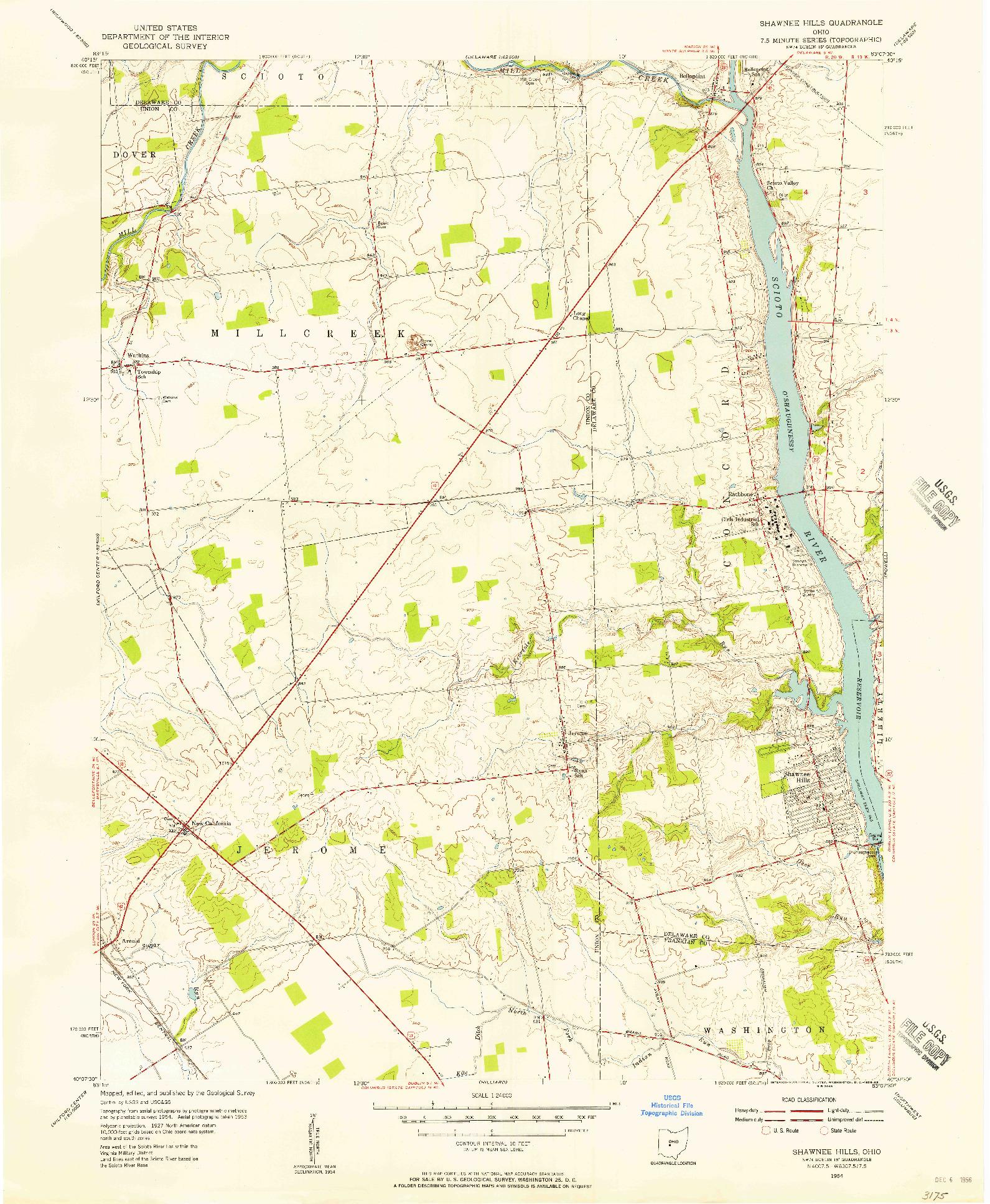 USGS 1:24000-SCALE QUADRANGLE FOR SHAWNEE HILLS, OH 1954