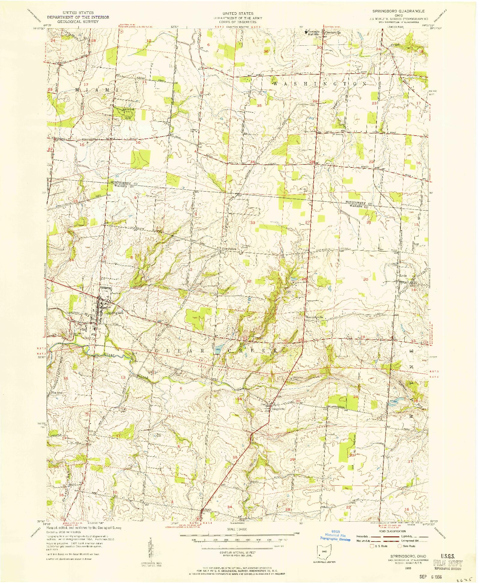 USGS 1:24000-SCALE QUADRANGLE FOR SPRINGBORO, OH 1955