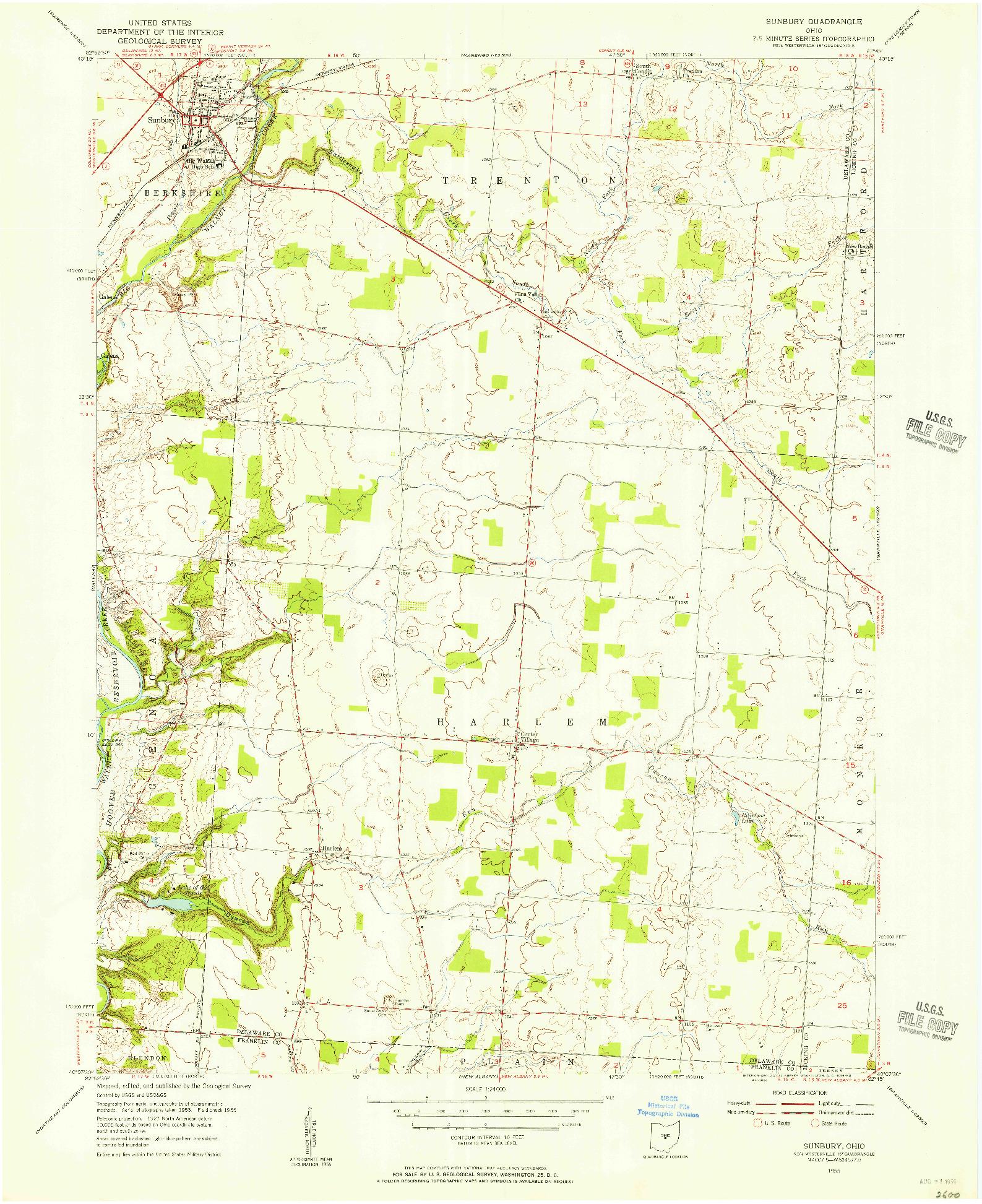 USGS 1:24000-SCALE QUADRANGLE FOR SUNBURY, OH 1955