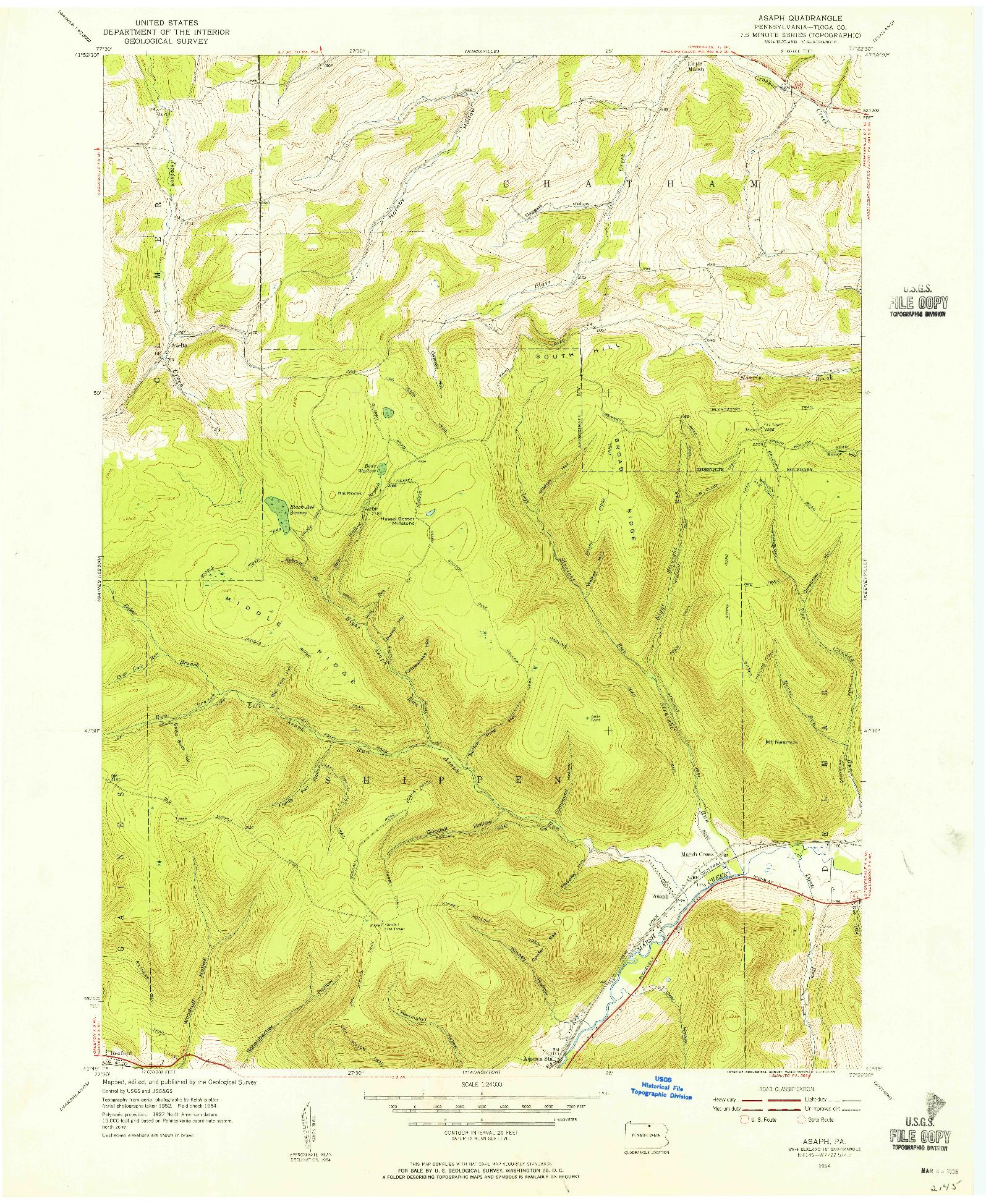 USGS 1:24000-SCALE QUADRANGLE FOR ASAPH, PA 1954