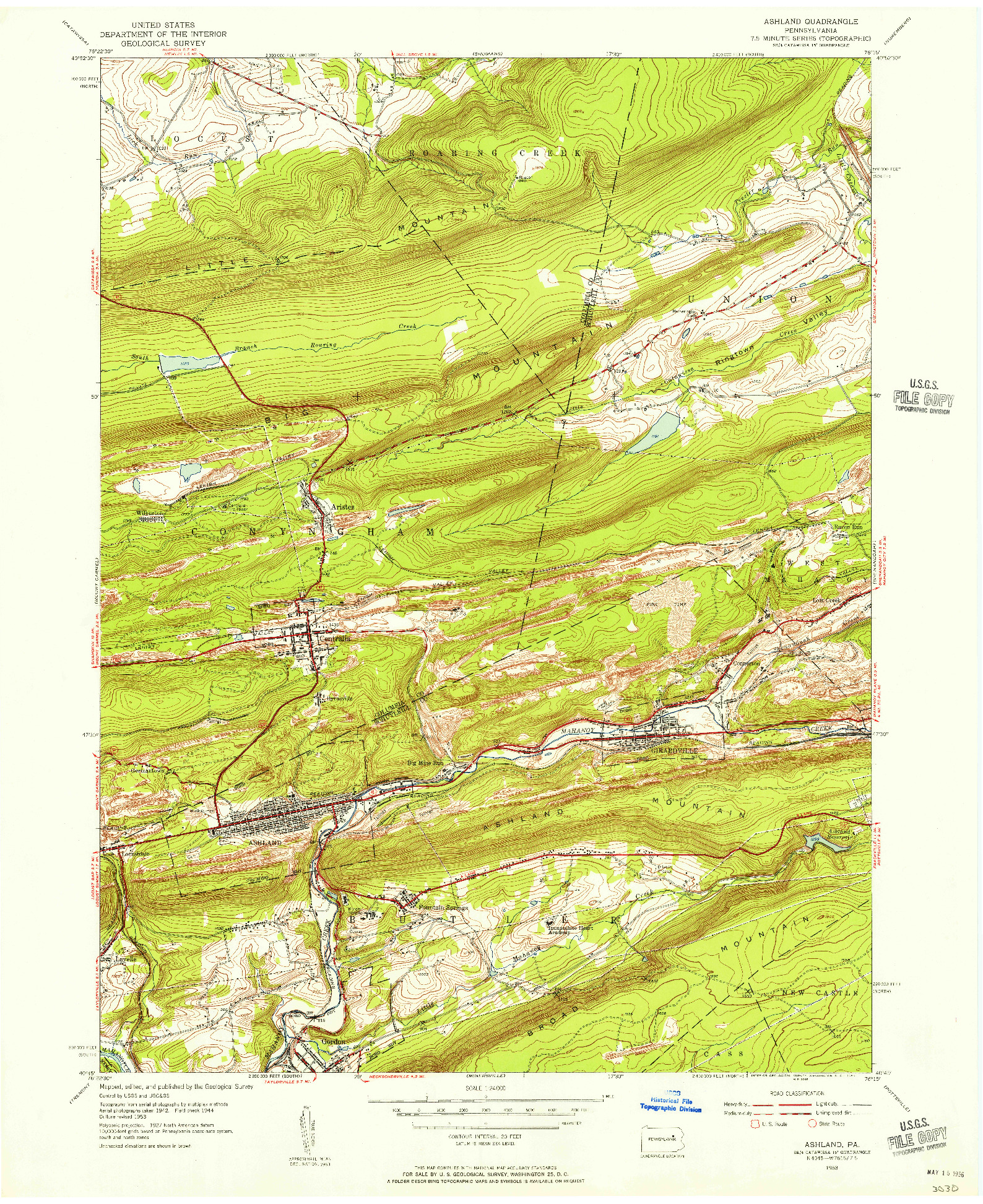 USGS 1:24000-SCALE QUADRANGLE FOR ASHLAND, PA 1953