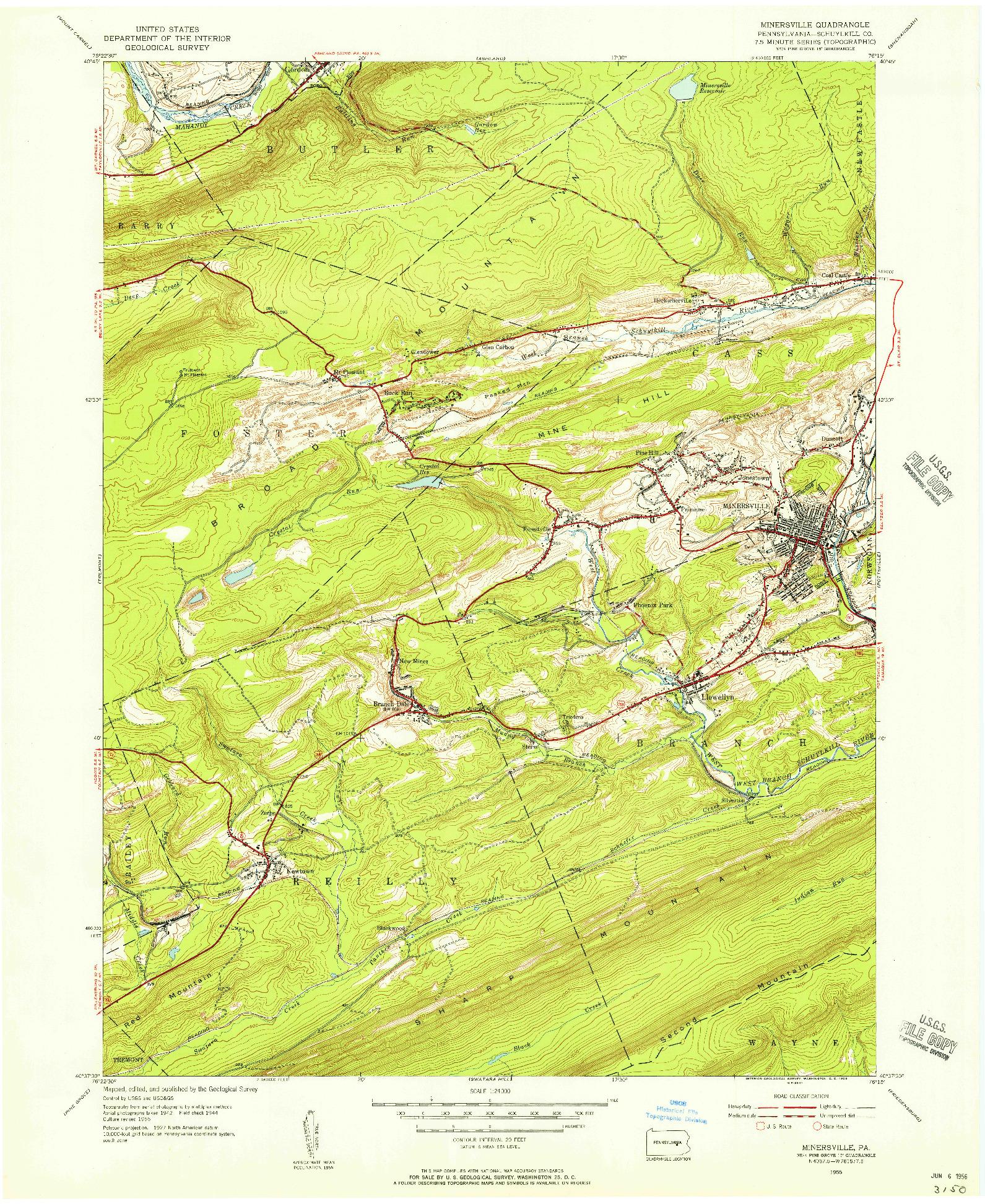 USGS 1:24000-SCALE QUADRANGLE FOR MINERSVILLE, PA 1955