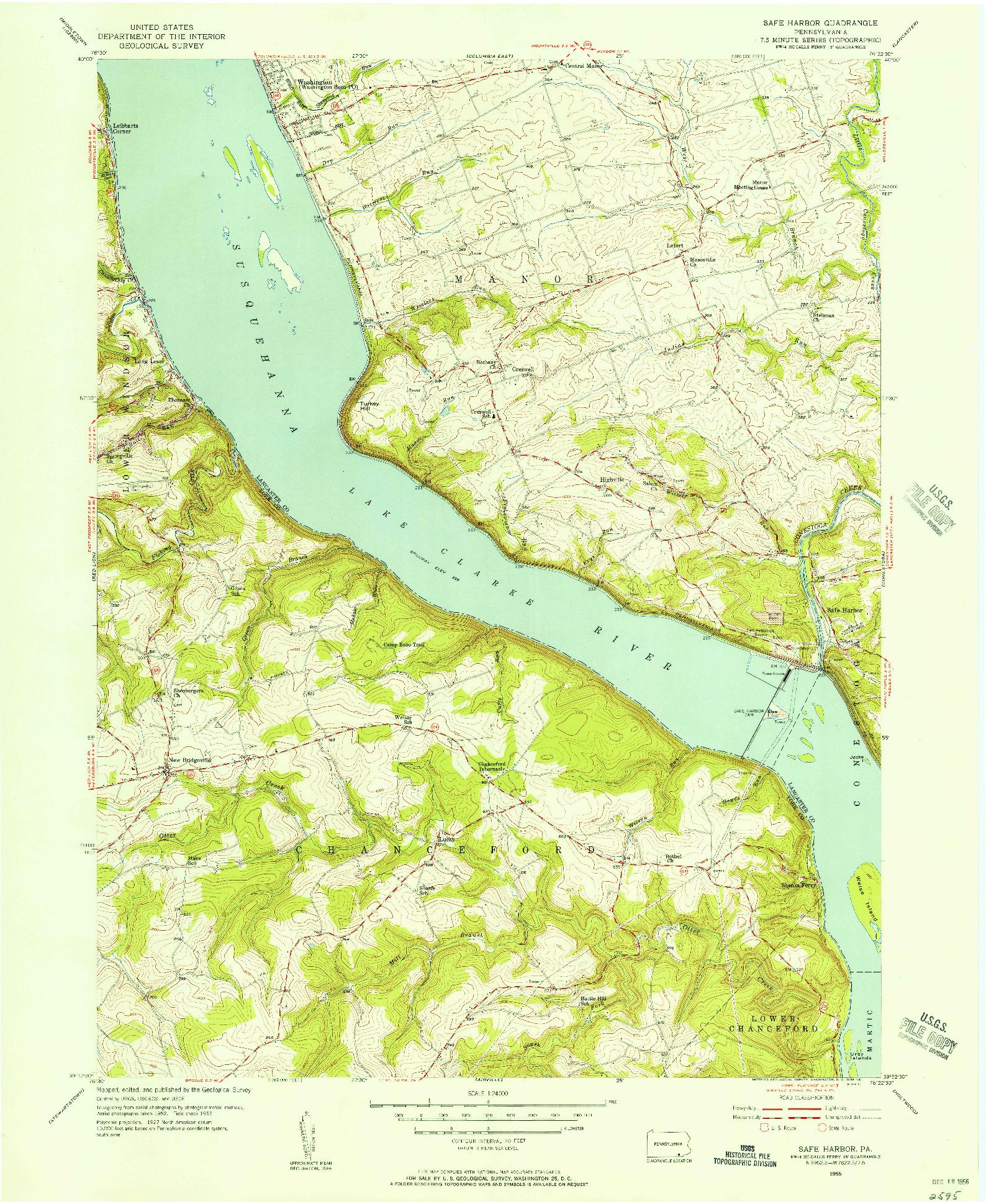 USGS 1:24000-SCALE QUADRANGLE FOR SAFE HARBOR, PA 1955