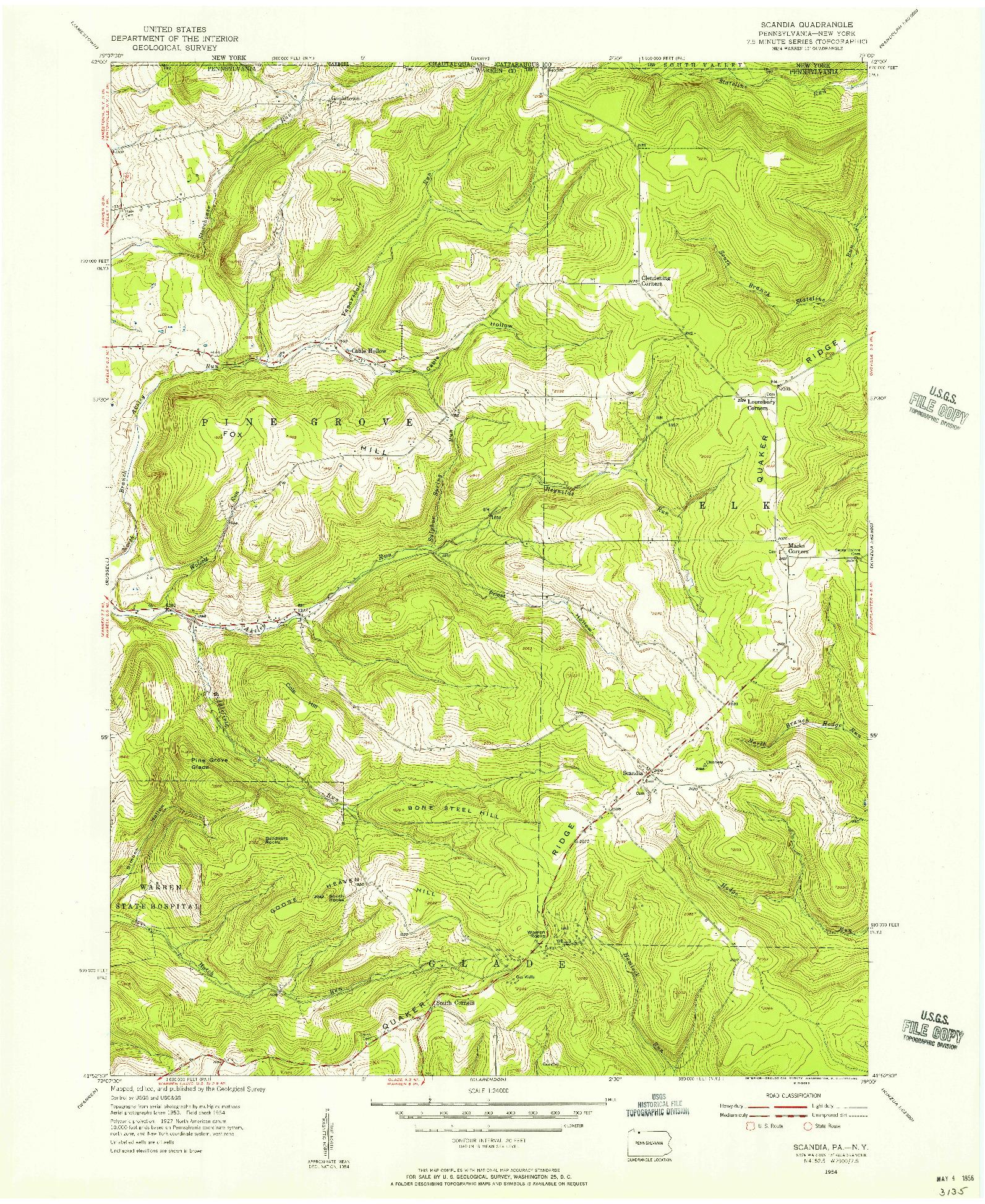 USGS 1:24000-SCALE QUADRANGLE FOR SCANDIA, PA 1954