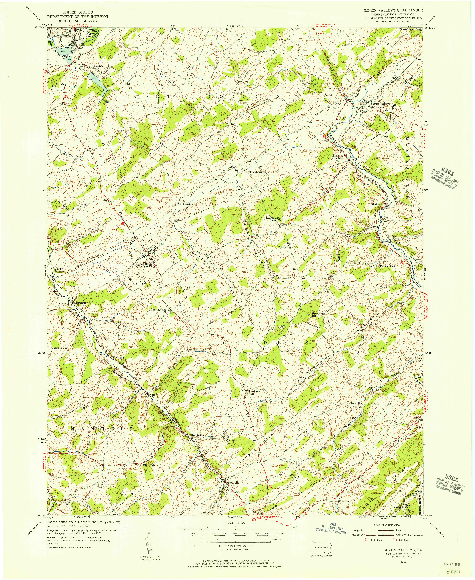 USGS 1:24000-SCALE QUADRANGLE FOR SEVEN VALLEYS, PA 1953