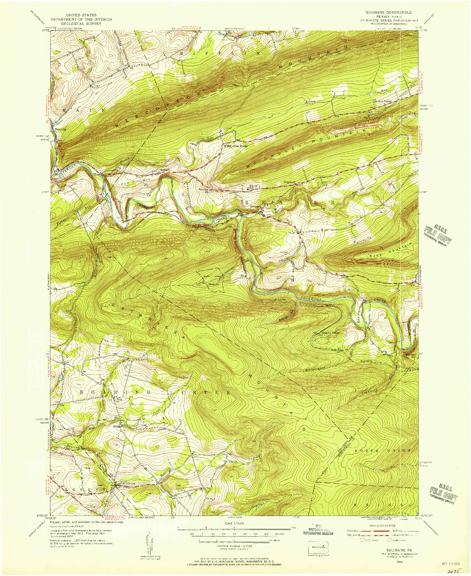 USGS 1:24000-SCALE QUADRANGLE FOR SHUMANS, PA 1955