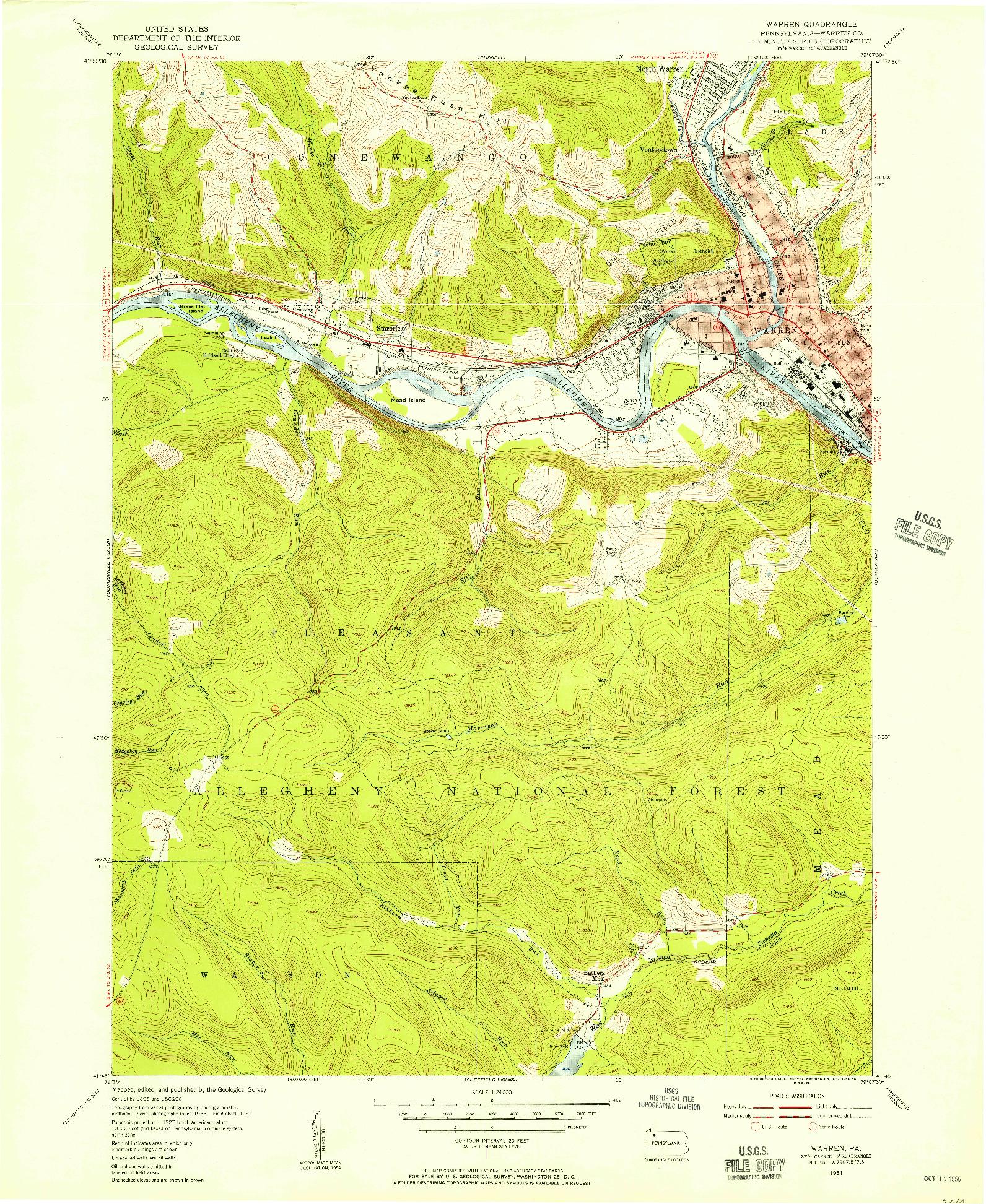 USGS 1:24000-SCALE QUADRANGLE FOR WARREN, PA 1954