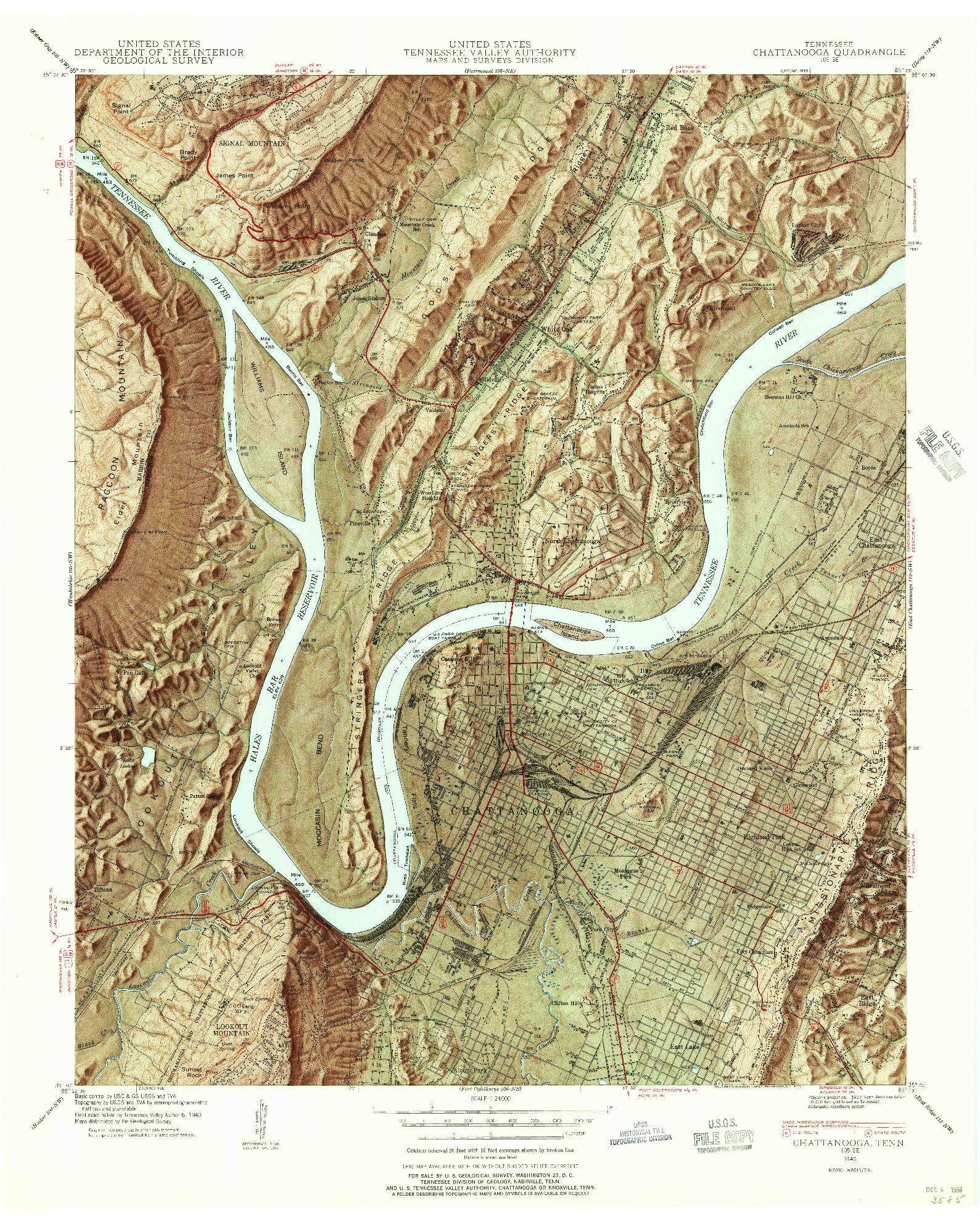 USGS 1:24000-SCALE QUADRANGLE FOR CHATTANOOGA, TN 1940
