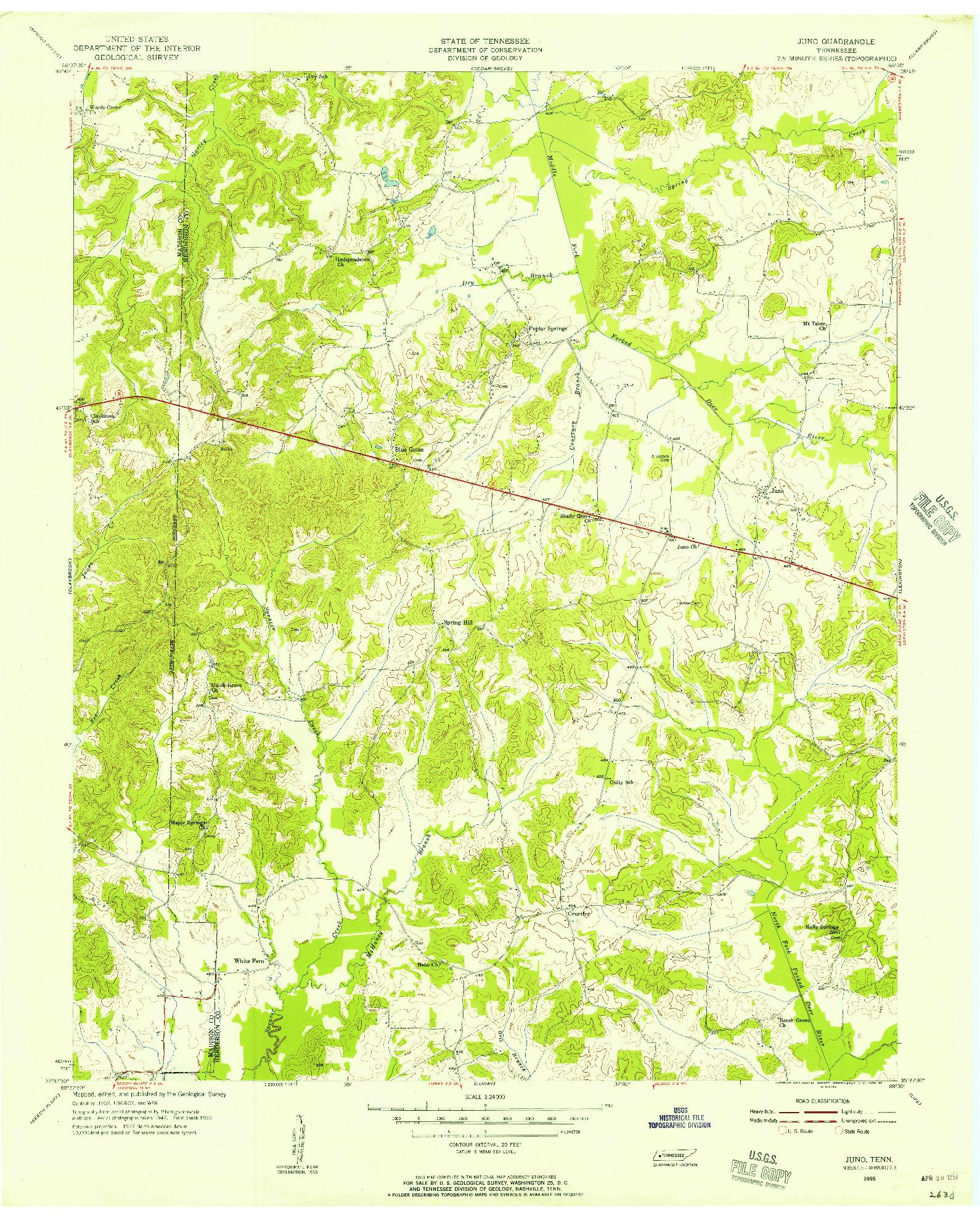 USGS 1:24000-SCALE QUADRANGLE FOR JUNO, TN 1955