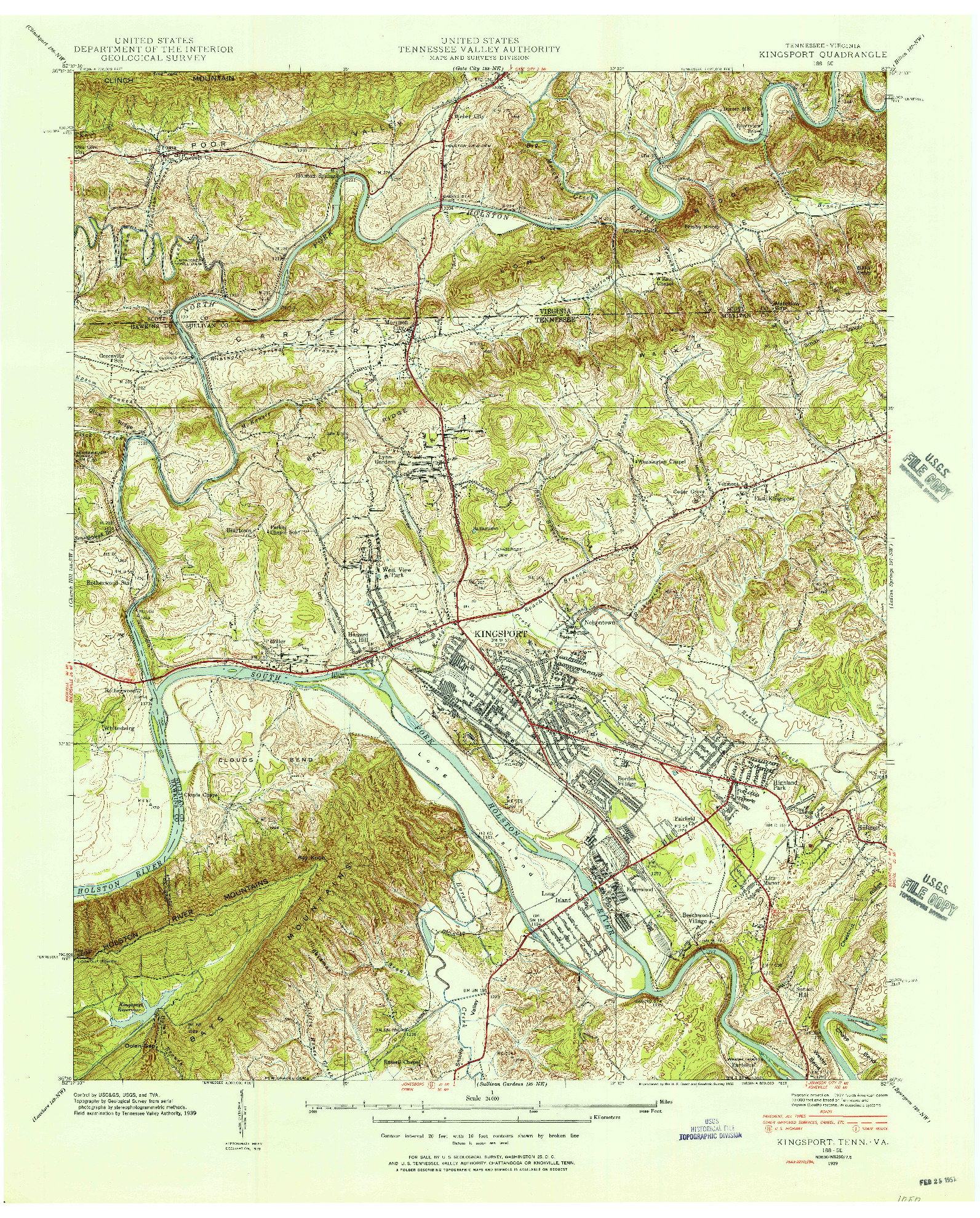USGS 1:24000-SCALE QUADRANGLE FOR KINGSPORT, TN 1939