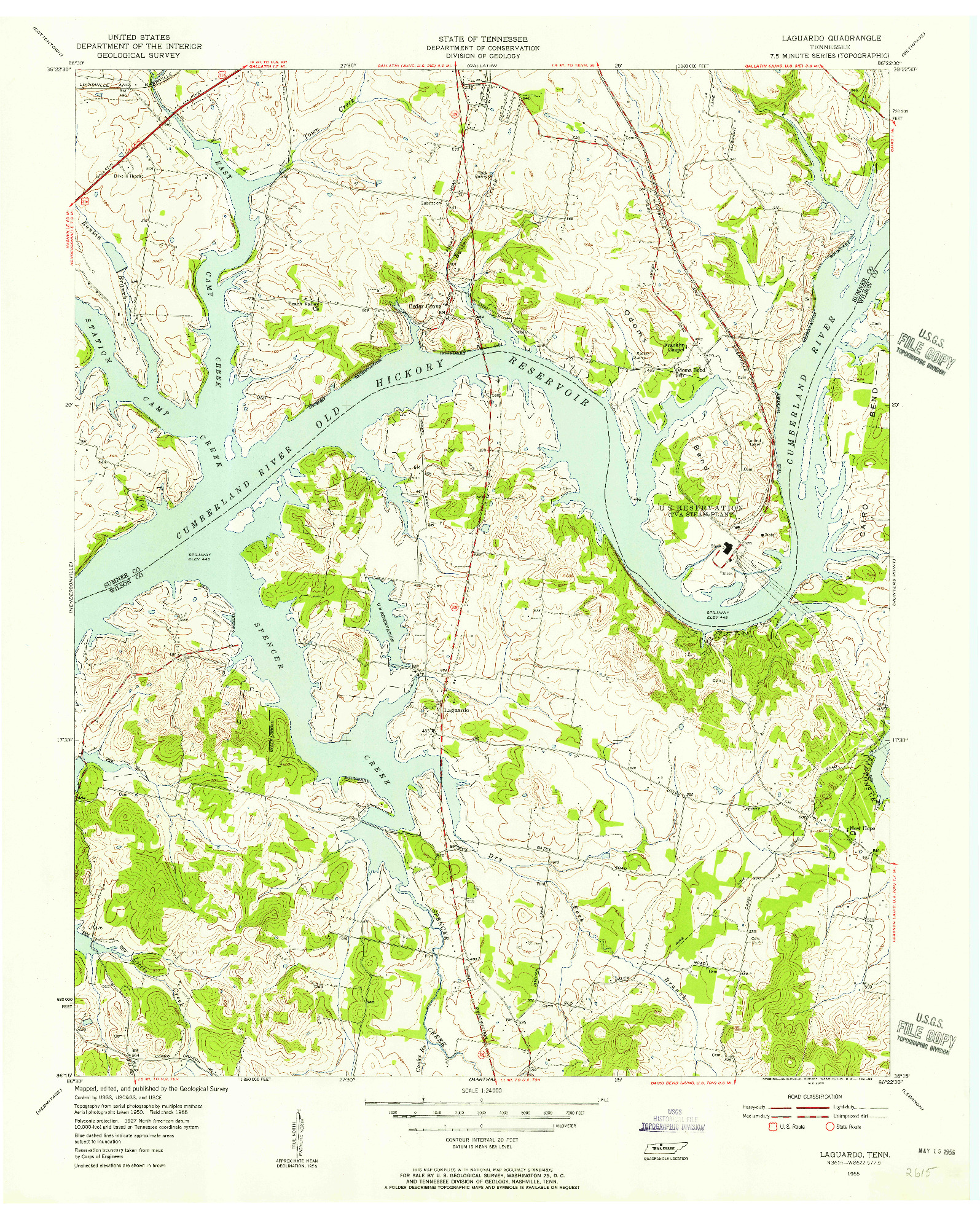 USGS 1:24000-SCALE QUADRANGLE FOR LAGUARDO, TN 1955