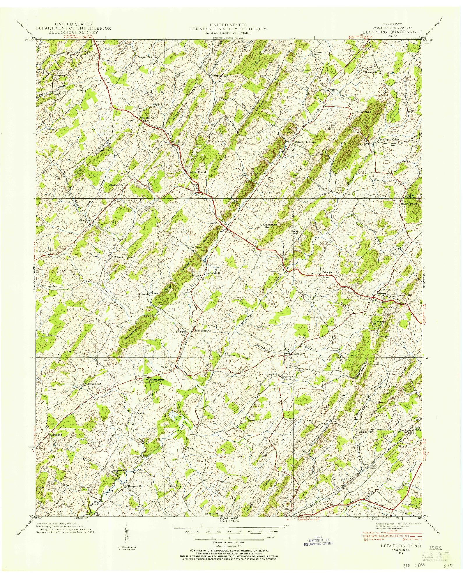 USGS 1:24000-SCALE QUADRANGLE FOR LEESBURG, TN 1939