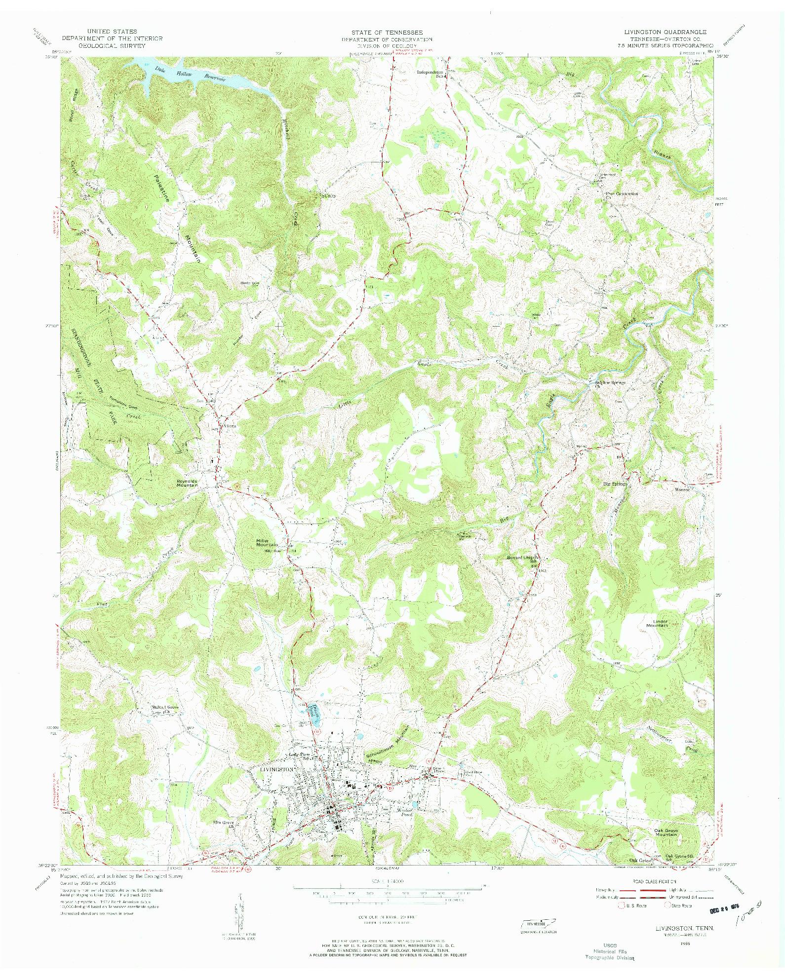 USGS 1:24000-SCALE QUADRANGLE FOR LIVINGSTON, TN 1955