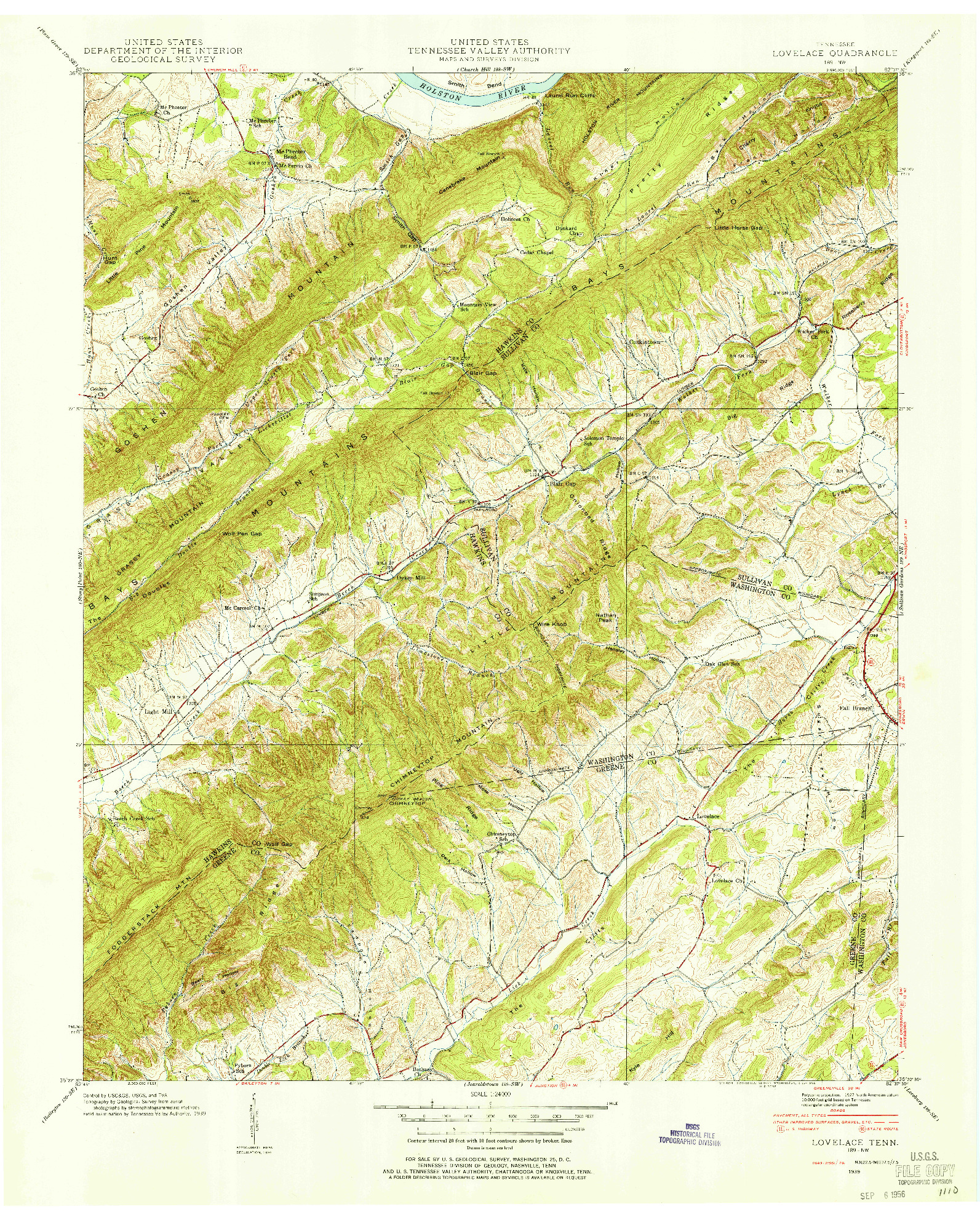USGS 1:24000-SCALE QUADRANGLE FOR LOVELACE, TN 1939