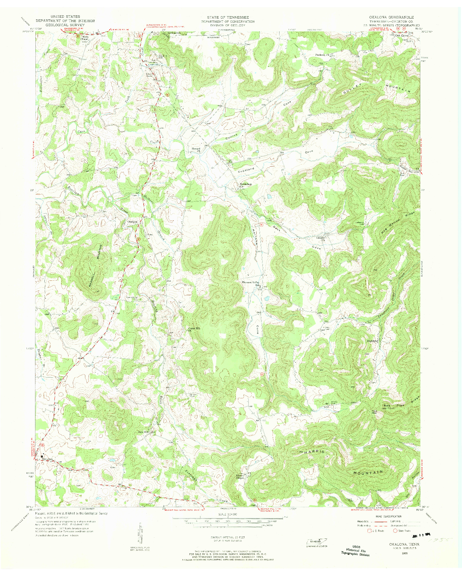 USGS 1:24000-SCALE QUADRANGLE FOR OKALONA, TN 1955