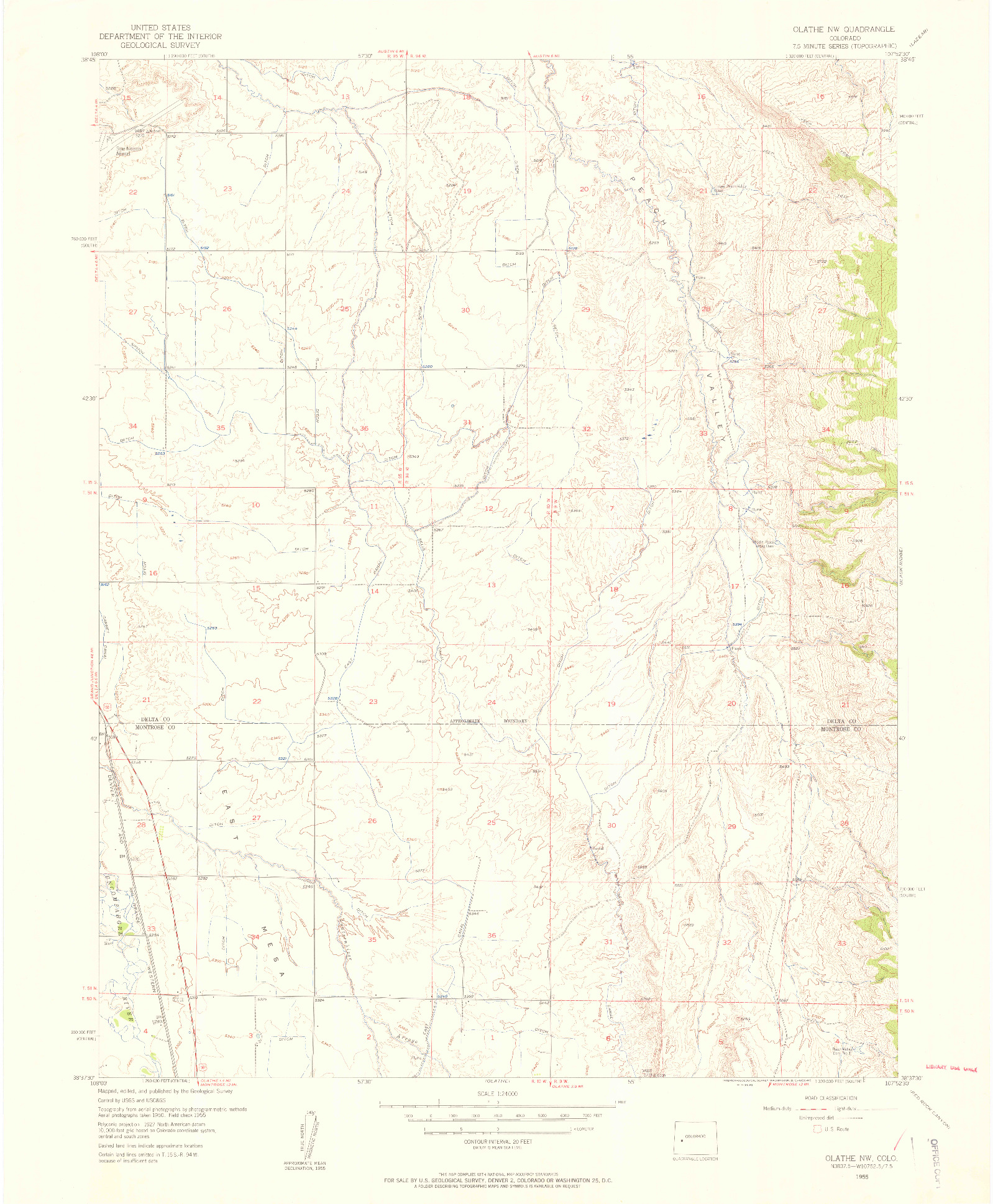 USGS 1:24000-SCALE QUADRANGLE FOR OLATHE NW, CO 1955